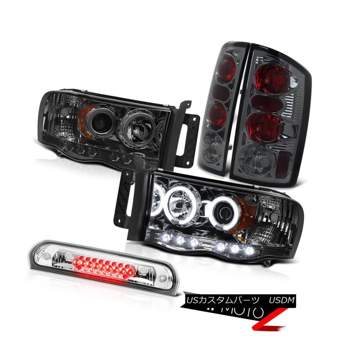 ヘッドライト 2x CCFL Angel Eye Headlights Smoke Rear Tail Lamps Roof LED Clear 02-05 Ram 3500 2x CCFLエンジェルアイヘッドライトスモークリアテールランプルーフLEDクリア02-05 Ram 3500