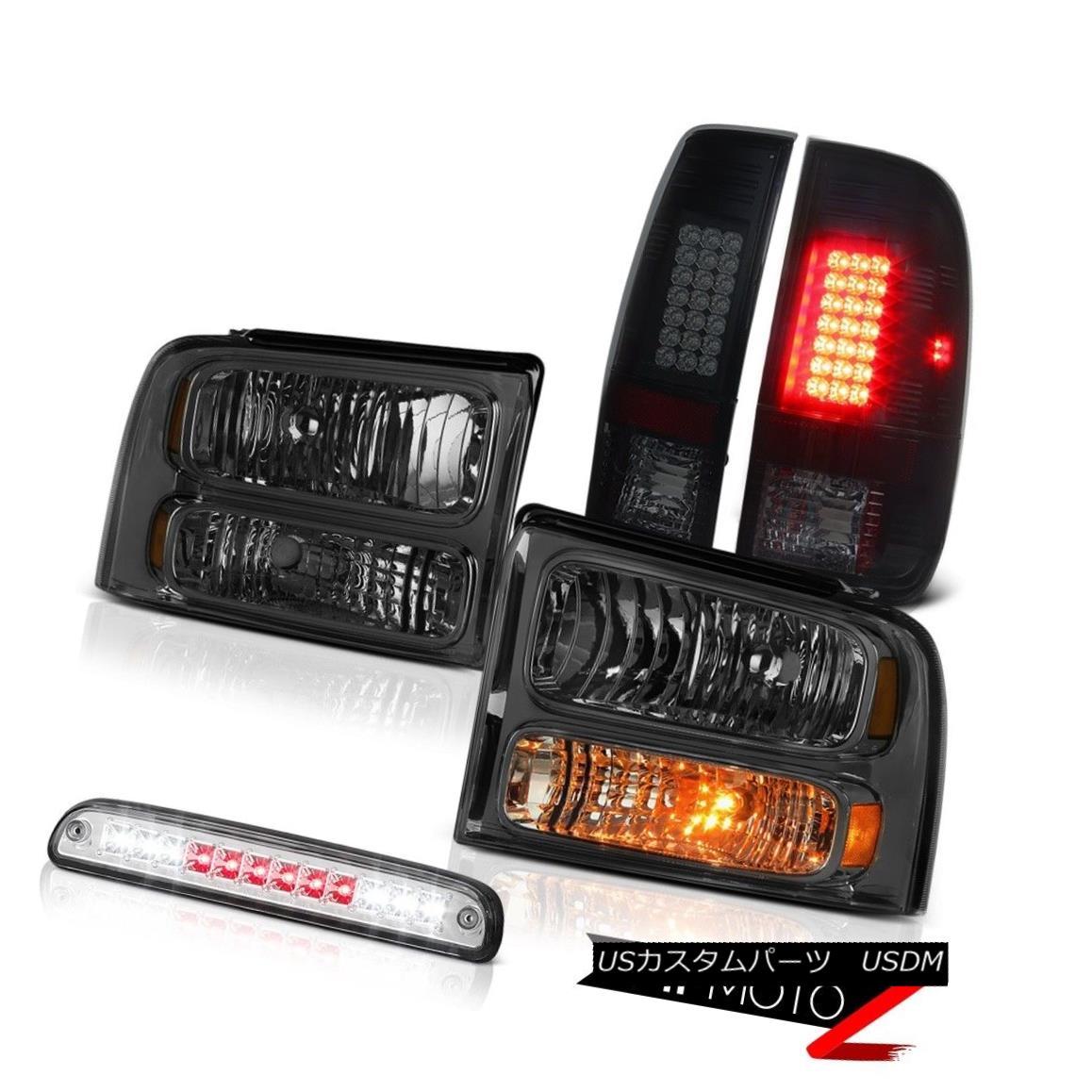 ヘッドライト 05 06 07 F350 6.0L Smoke Tinted Headlamps LED Tail Lights Chrome Third Brake 05 06 07 F350 6.0L煙がかかったヘッドランプLEDテールランプクロム第3ブレーキ