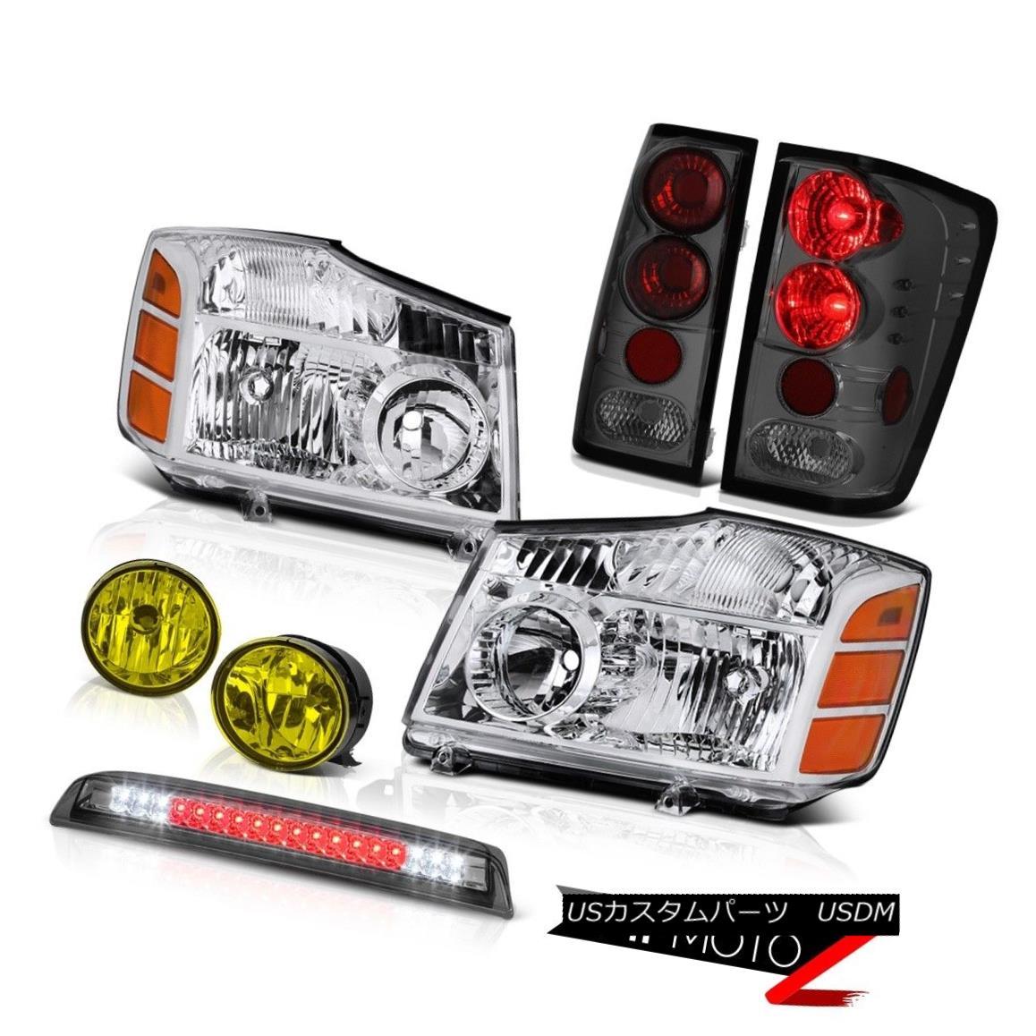 ヘッドライト For 04-15 Titan Factory Style Headlights Tail Lights Yellow Fog Smoke Brake LED 04-15タイタンの工場スタイルヘッドライトテールライトイエローフォグスモークブレーキLED