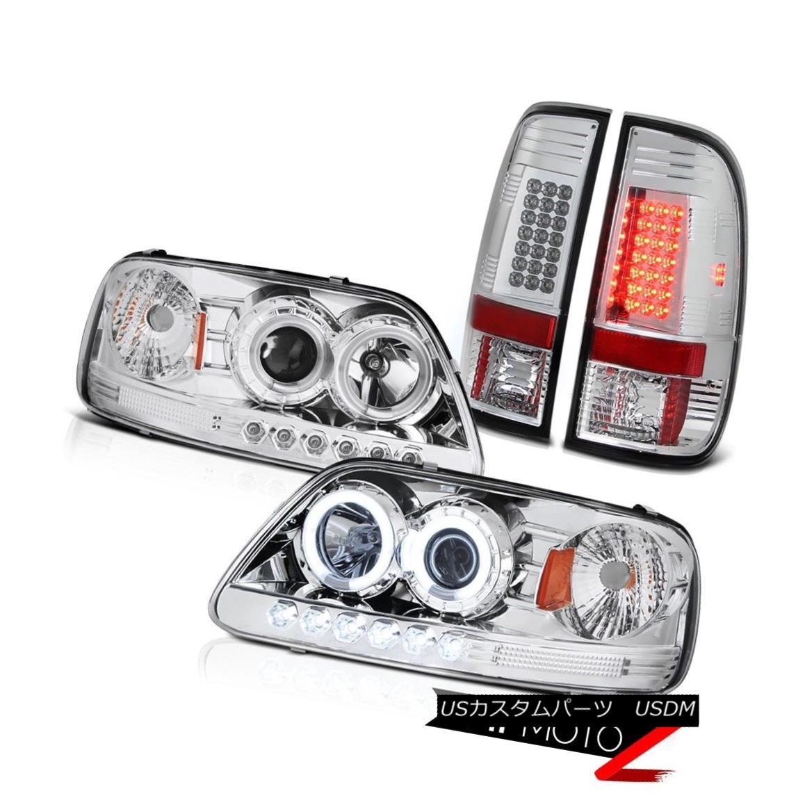 ヘッドライト F150 Hertiage 1997-2003 CCFL Halo Angel Eye Headlamps SMD LED Rear Tail Lights F150 Heritage 1997-2003 CCFL Halo Angel EyeヘッドランプSMD LEDリアテールライト