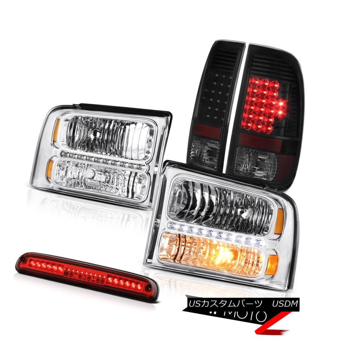 ヘッドライト 05 06 07 F250 5.4L Pair New Headlights Smoke Black LED TailLights Roof Stop Red 05 06 07 F250 5.4Lペア新しいヘッドライトスモークブラックLEDテールライトルーフストップレッド
