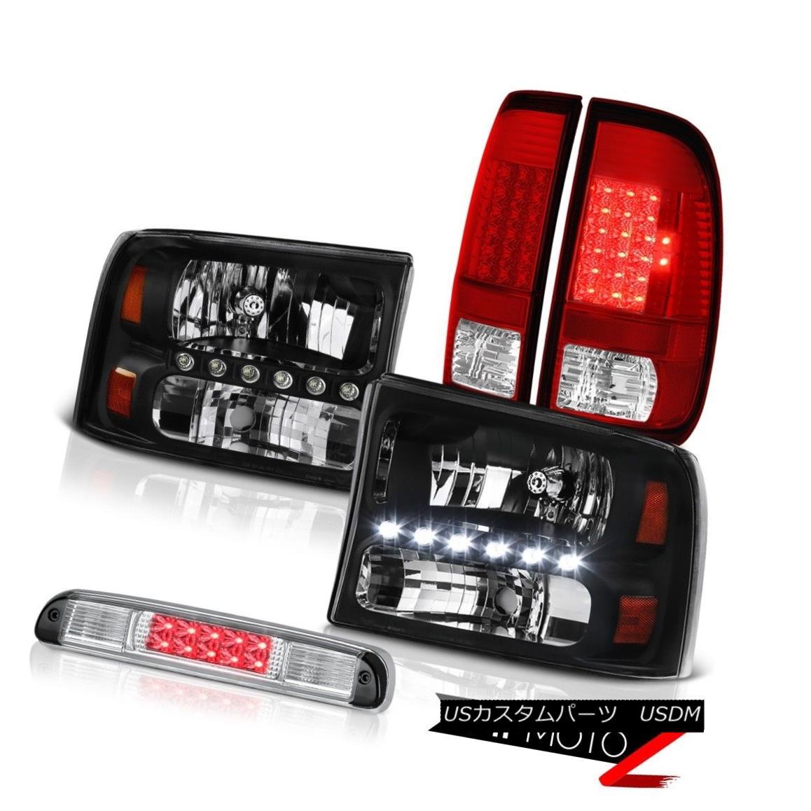 ヘッドライト Black Headlights LED Signal Tail Lights Chrome 3rd Brake 99-04 Ford F250 6.0L ブラックヘッドライトLEDシグナルテールライトクローム第3ブレーキ99-04 Ford F250 6.0L