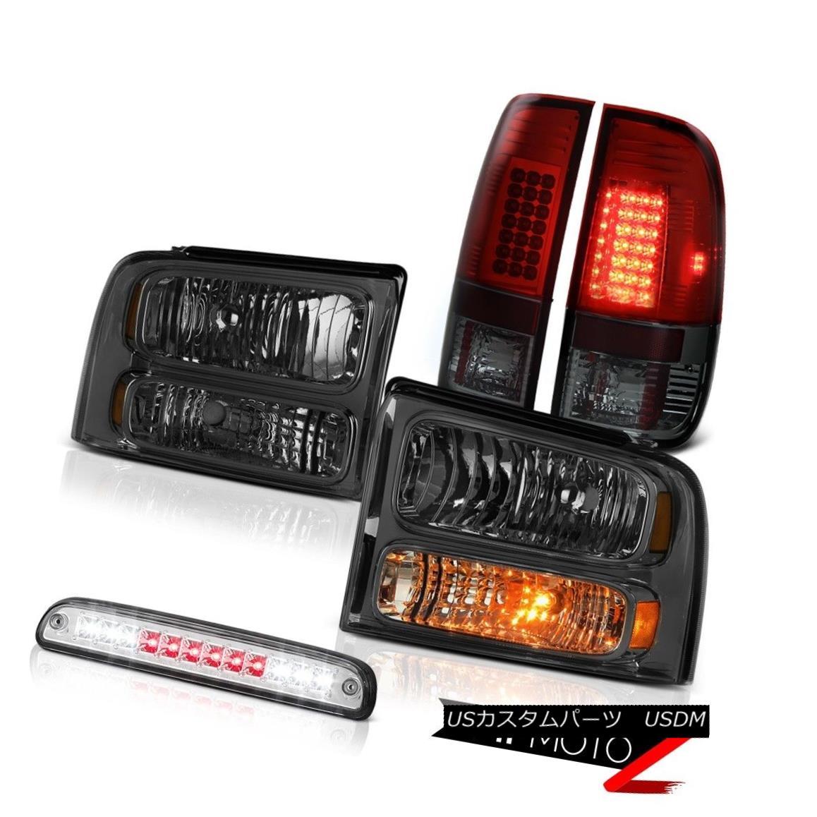 ヘッドライト 05 06 07 Ford F450 Dark Smoke Headlights SMD LED Brake Lamps High Stop Chrome 05 06 07フォードF450ダークスモークヘッドライトSMD LEDブレーキランプハイストップクローム