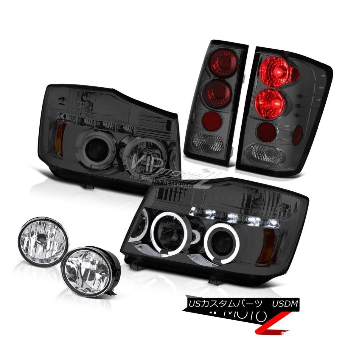ヘッドライト For 04-15 Titan SE L.E.D Halo Headlight Smoke Red Tail Light Chrome Bumper Fog 04-15タイタンSE L.E.Dのためのヘビーヘッドライト煙レッドテールライトクロームバンパーフォグ