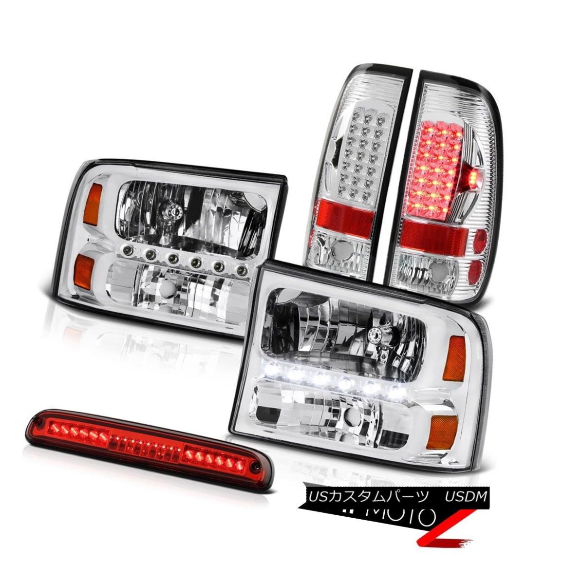 ヘッドライト 1999-2004 F250 7.3L Left Right HeadLights SMD Tail Lights Third Brake Red LED 1999-2004 F250 7.3L左ライトヘッドライトSMDテールライト第3ブレーキ赤LED
