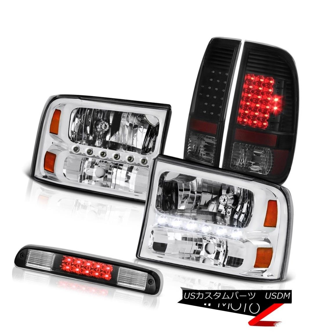 ヘッドライト Clear Headlights Philip SuperFlux LED Taillights Black 99-04 F350 Turbo Diesel クリアヘッドライトPhilip SuperFlux LEDテールライトブラック99-04 F350ターボディーゼル