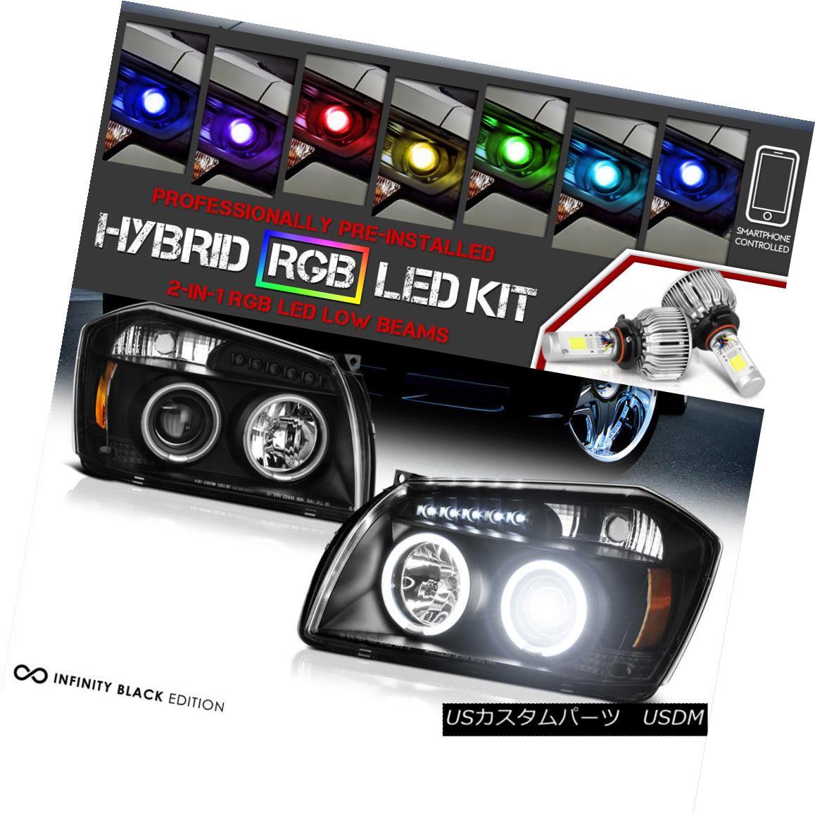 ヘッドライト [Adjustable Color LED Low Beam] 05-07 Dodge MAGNUM CCFL Angel Eye Headlights L+R [調節可能なカラーLEDロービーム] 05-07 MAGNUM CCFLエンジェルアイヘッドライトL + R