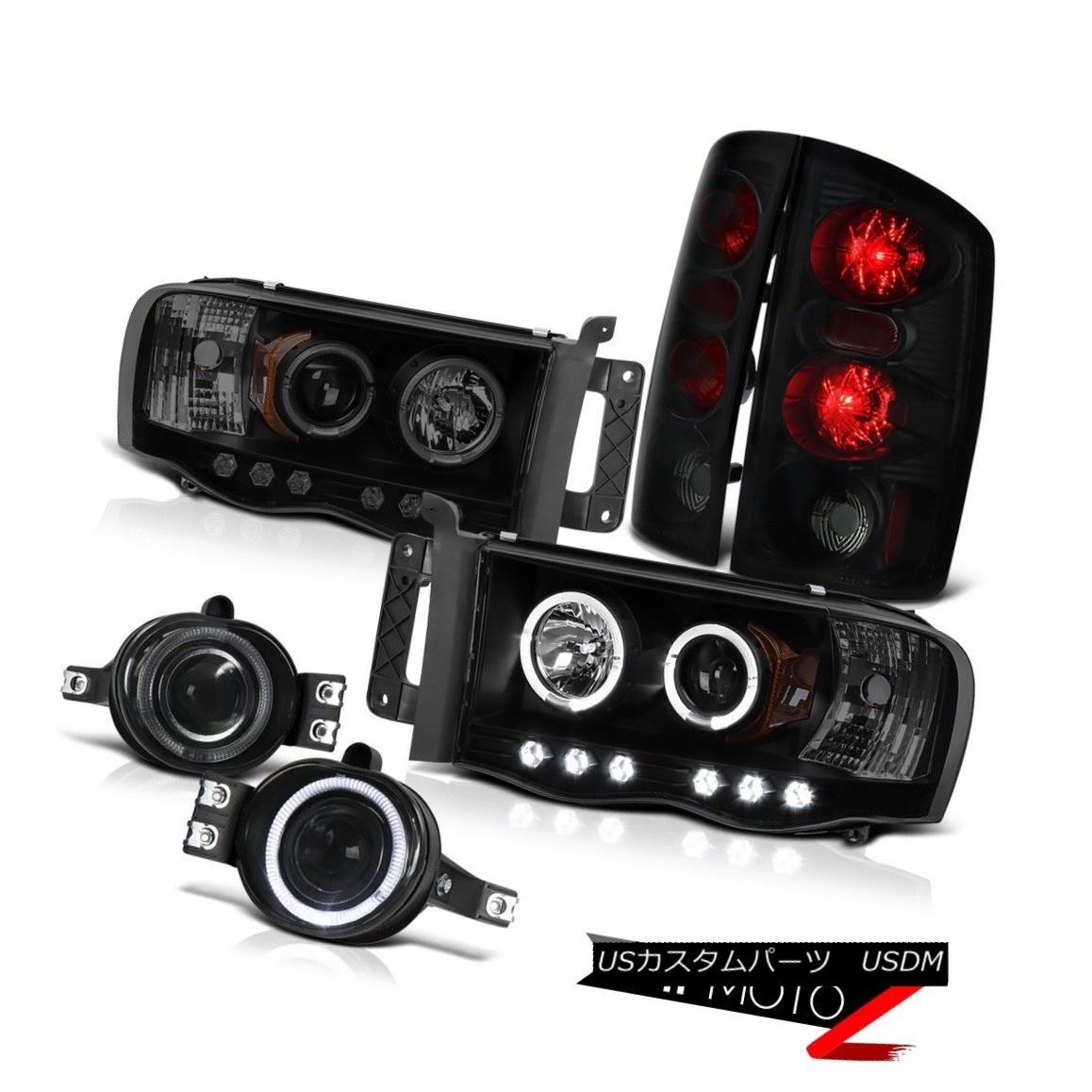 ヘッドライト 2002-2005 Dodge Ram SLT Projector Dark Angel Eye Headlight Sinister Black Tail 2002-2005ダッジ・ラムSLTプロジェクターダーク・エンジェル・アイヘッドライト・シニスター・ブラック・テール