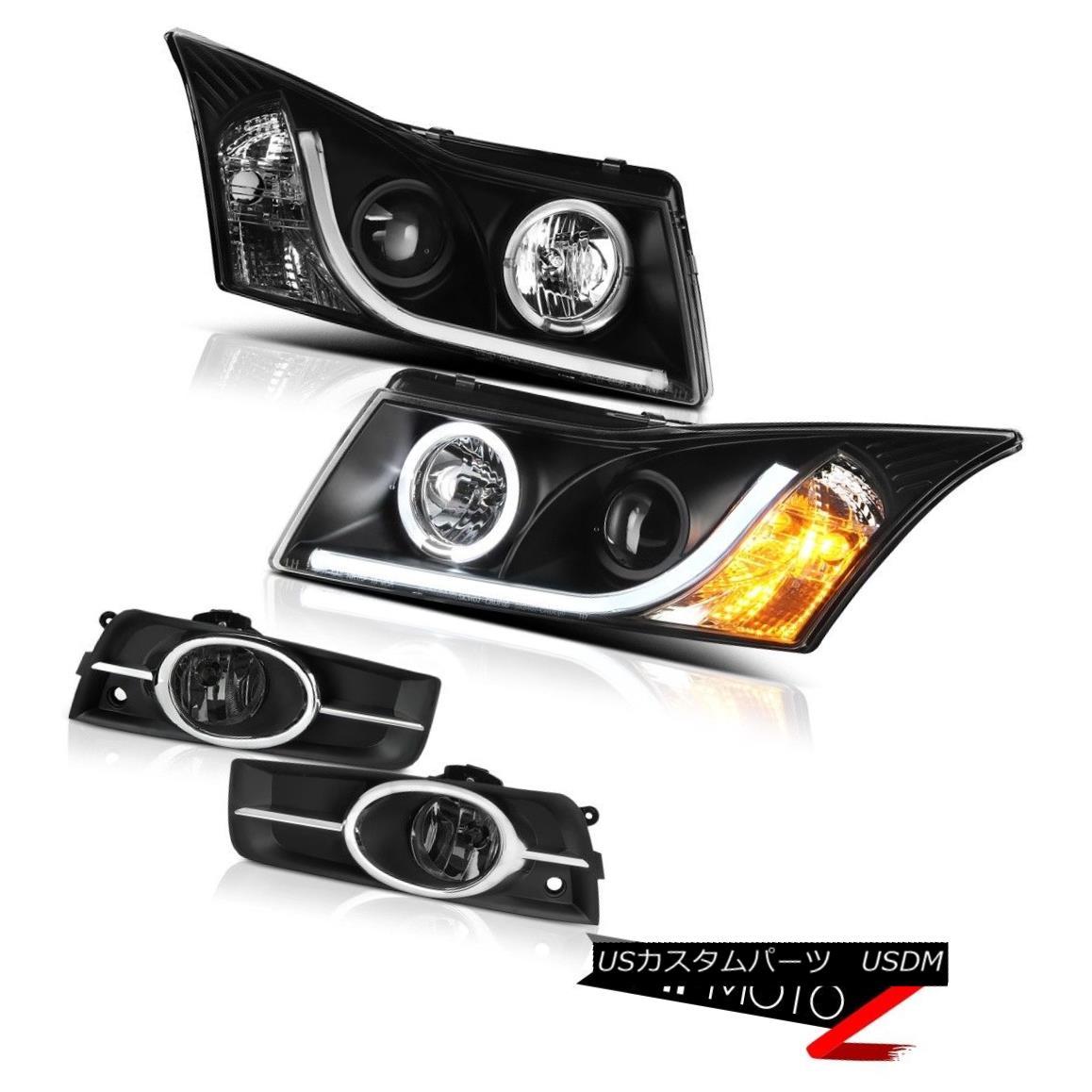 Optic 11-15シェビークルーズスモークフォグランプマットブラックヘッドライトサイクロプスオプティックライトバー Bar Cruze Headlights Chevy Light Foglamps Matte Cyclop Black 11-15 ヘッドライト Smoked