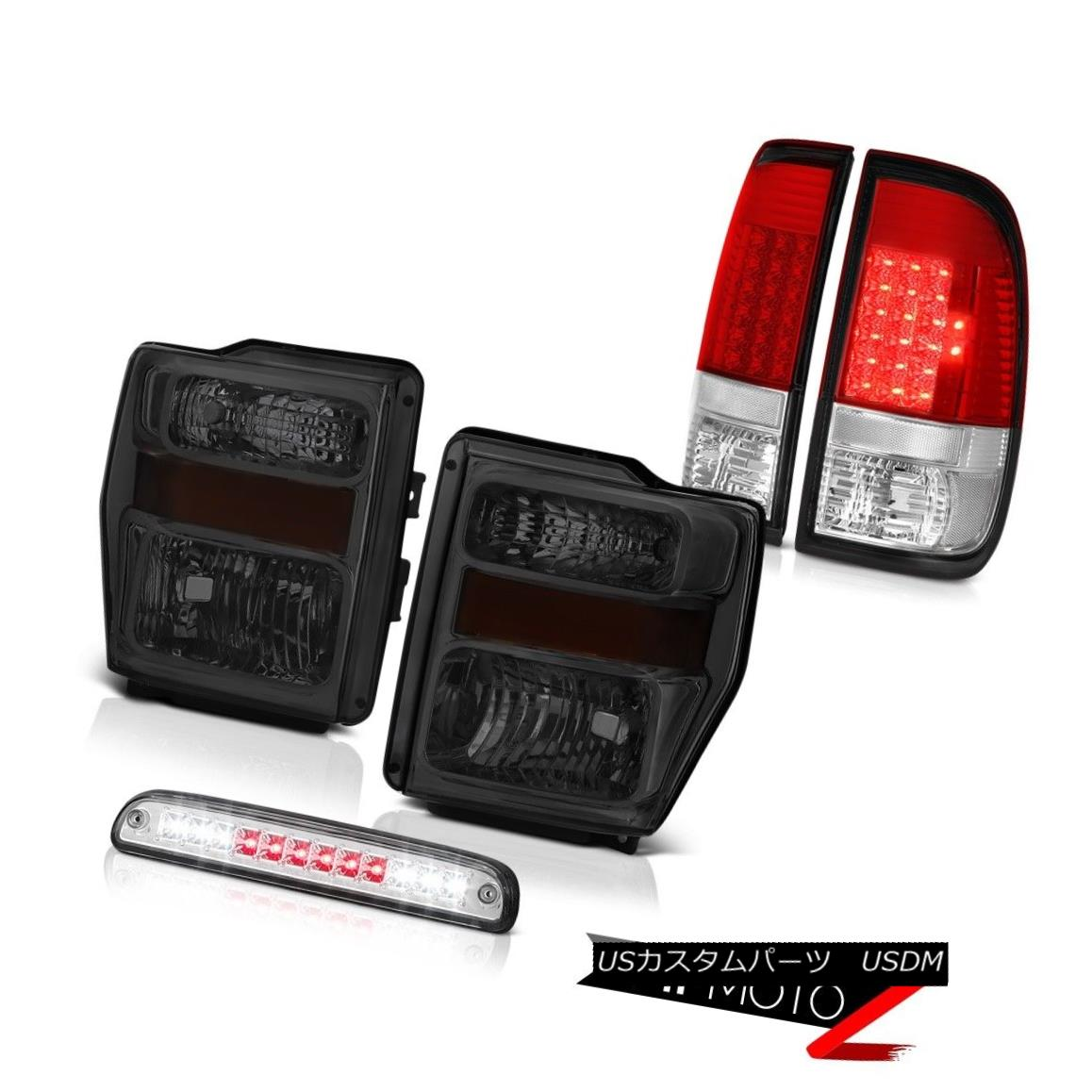 ヘッドライト 08-10 F250 Triton V8 Smoke Tinted Headlamps Red LED Tail light Third Brake Cargo 08-10 F250 Triton V8煙がかかったヘッドランプ赤LEDテールライトThird Brake Cargo
