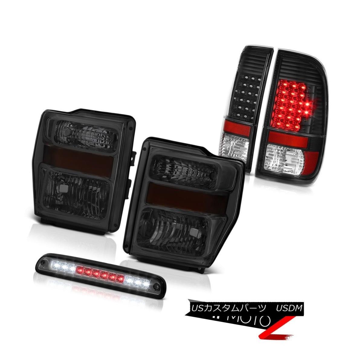 ヘッドライト 08 09 10 F250 XL Crystal Smoke Headlights L.E.D Rear Tail Lights Tinted 3rd LED 08 09 10 F250 XLクリスタルスモークヘッドライトL.E.DリアテールライトTinted 3rd LED