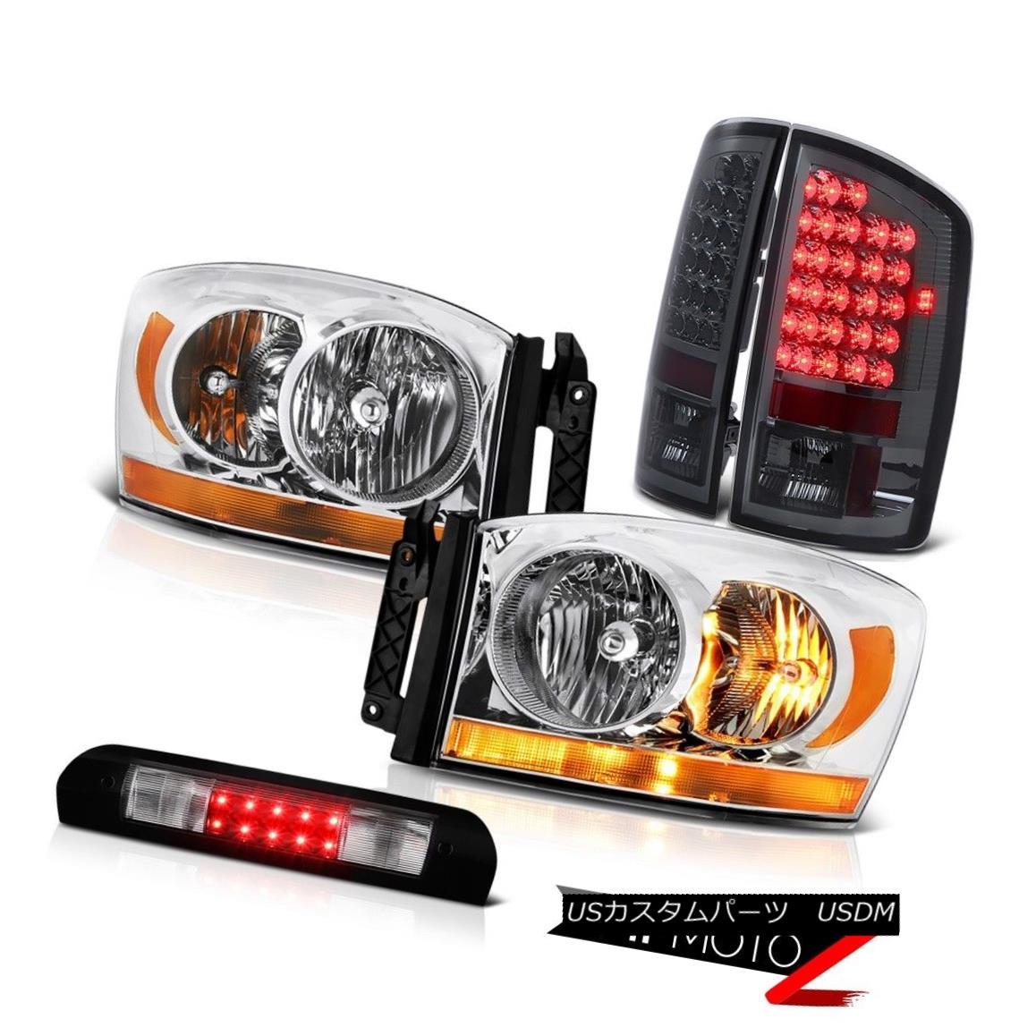 ヘッドライト 2006 Ram 3.7L Clear Chrome Headlamps Matte Black 3RD Brake Lamp Smoked Taillamps 2006 RAM 3.7Lクリアクロームヘッドランプマットブラック3RDブレーキランプスモークタイランプ