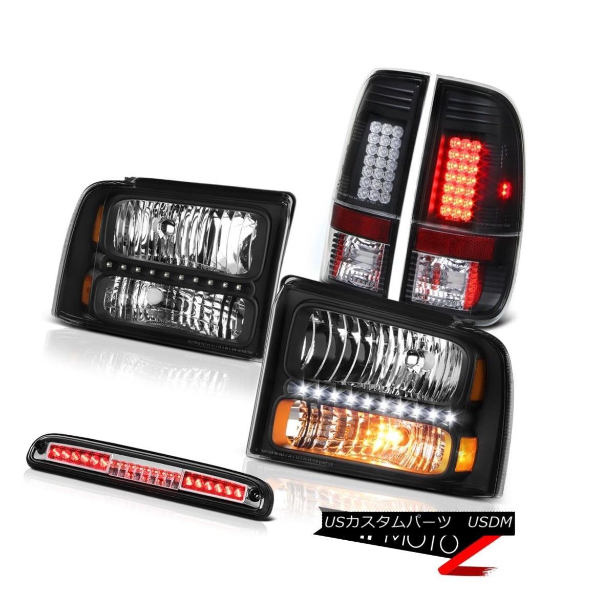 ヘッドライト 2005 2006 2007 F250 Turbo Diesel Pair Black Headlamps LED Taillamps High Stop 2005 2006 2007 F250ターボディーゼルペアブラックヘッドランプLEDタイルランプハイストップ