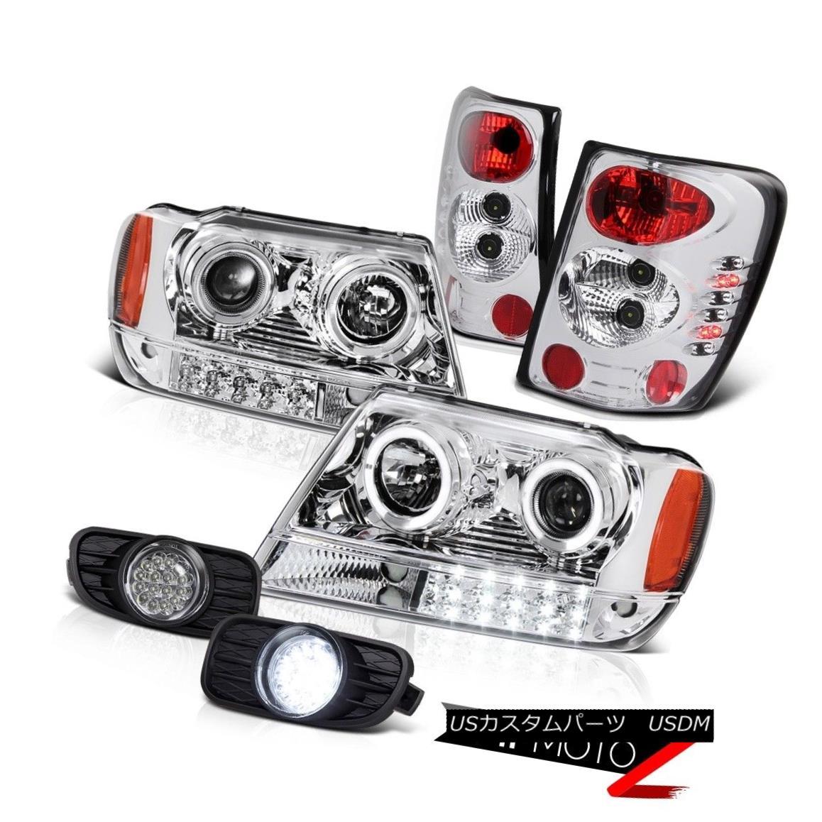 ヘッドライト 99-03 JEEP GRAND CHEROKEE WG WJ CHROME LED PROJECTOR HEADLIGHT+TAILLAMP+FOG LAMP 99-03 JEEP GRAND CHEROKEE WG WJ CHROME LEDプロジェクターヘッドライト+テール LAMP + FOG LAMP