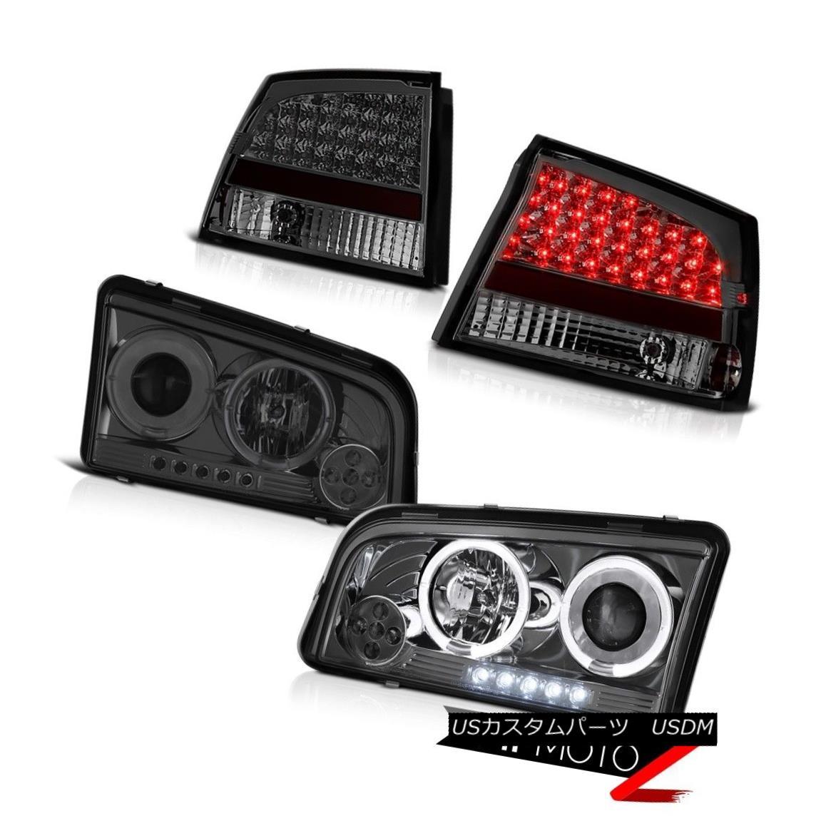 ヘッドライト 09 10 Charger DUB Smoked Headlight LED Halo Angel TailLight Tinted Smoked Bright 09 10充電器DUBスモークヘッドライトLED Halo Angel TailLightスモークブライト