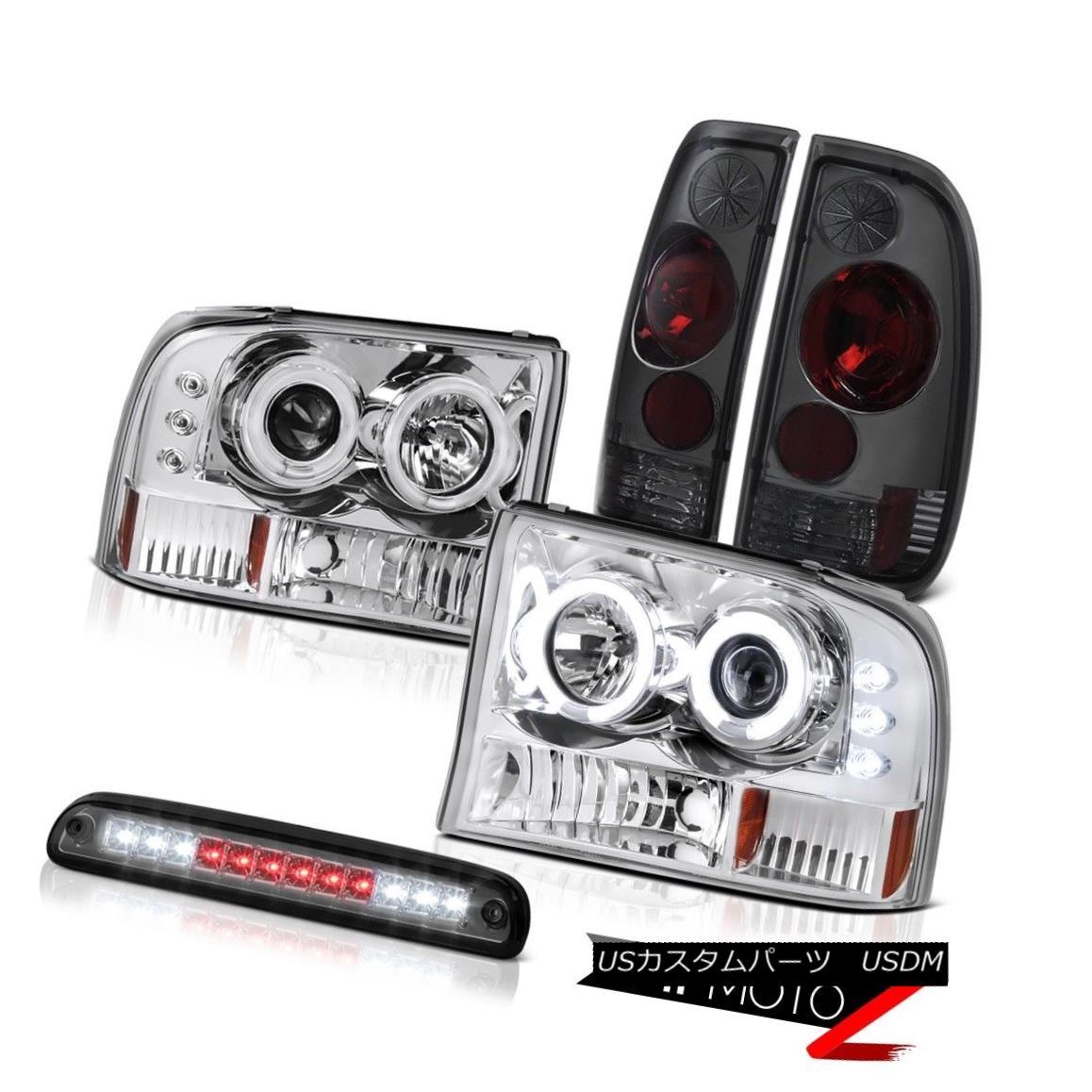 ヘッドライト [BRIGHTEST] CCFL Rim Headlight 3rd Brake LED Rear Lights Smoke 99-04 Ford F250 [明るい] CCFLリムヘッドライト第3ブレーキLEDリアライトスモーク99-04 Ford F250