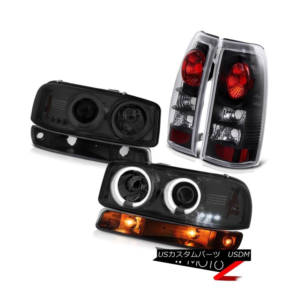 ヘッドライト 99 00 01 02 GMC Sierra Nighthawk black tail lights bumper lamp ccfl headlamps 99 00 01 02 GMC Sierra Nighthawkブラックテールライトバンパーランプccflヘッドランプ