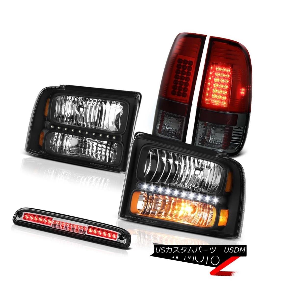 ヘッドライト 2005-2007 F250 Beast Black Headlights Smokey Red L.E.D Tail Lights 3rd Brake LED 2005-2007 F250ビーストブラックヘッドライトスモーキーレッドL.E.Dテールライト第3ブレーキLED