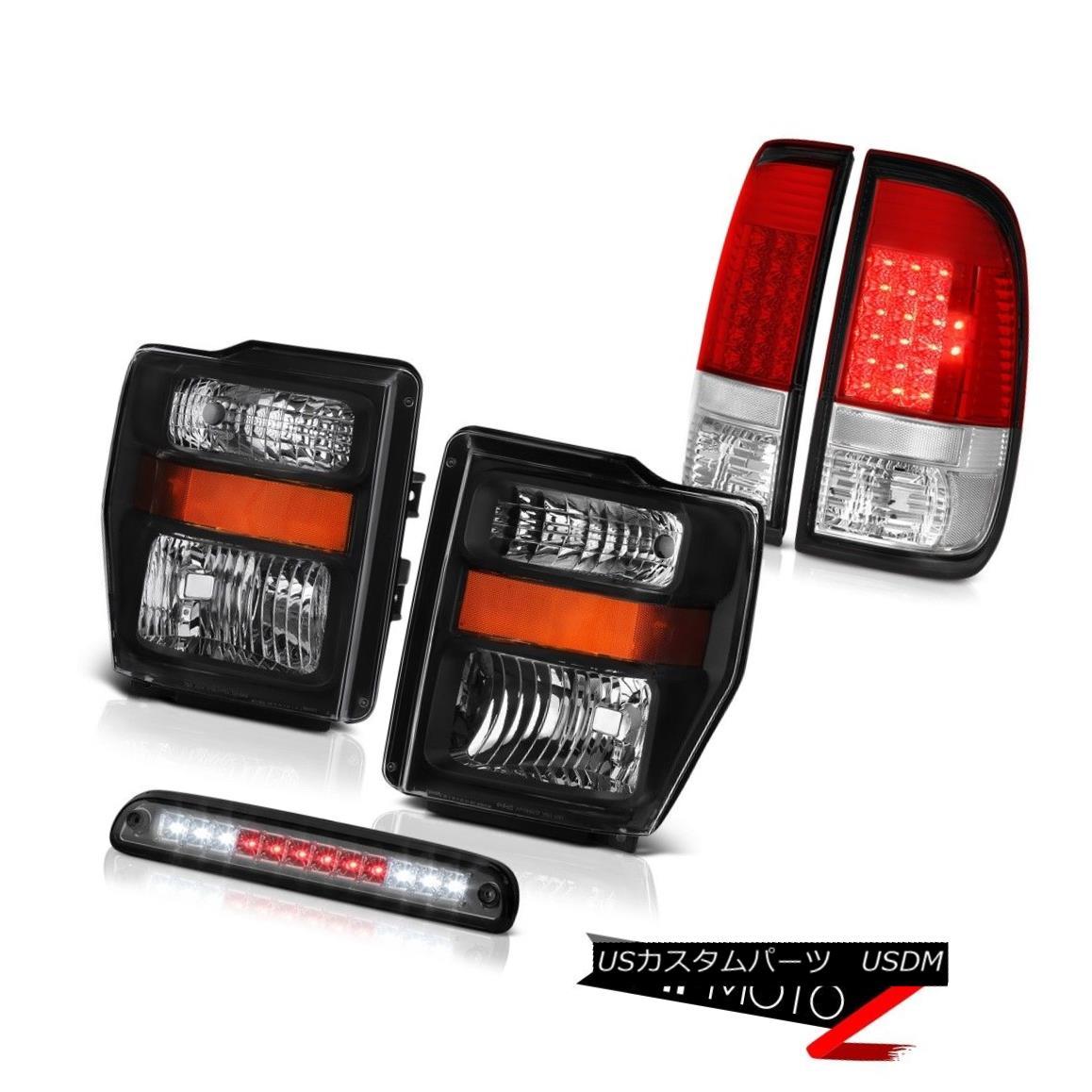 ヘッドライト 08-10 F250 Power Stroke V8 Clear/Black Headlights LH+RH LED Brake Lights Tinted 08-10 F250パワーストロークV8クリア/ブラックヘッドライトLH + RH LEDブレーキライト
