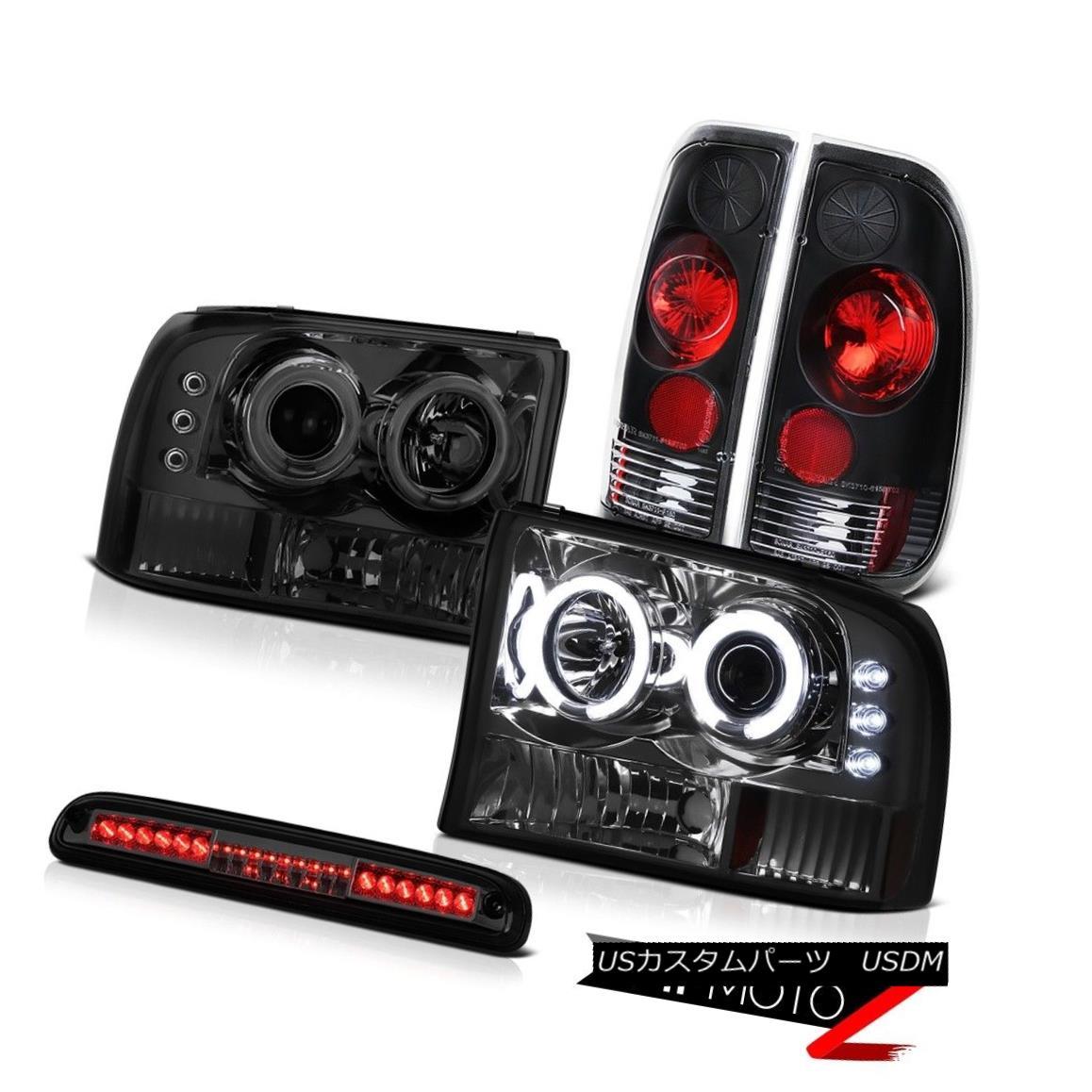 ヘッドライト 99-04 F350 6.8L Smoke CCFL Ring Headlights Black Tail Light Tinted 3rd Brake LED 99-04 F350 6.8L煙CCFLリングヘッドライトブラックテールライトティント付き第3ブレーキLED