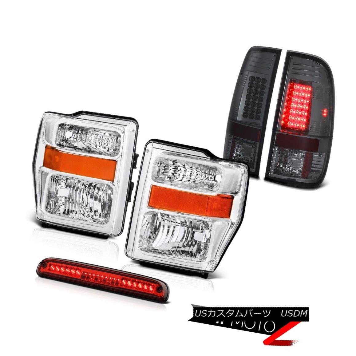 ヘッドライト Pair Chrome Headlight 08 09 10 F350 6.8L L.E.D Tail Lamp Smoke Red 3rd Brake LED ペアクロームヘッドライト08 09 10 F350 6.8L L.E.Dテールランプスモークレッド第3ブレーキLED