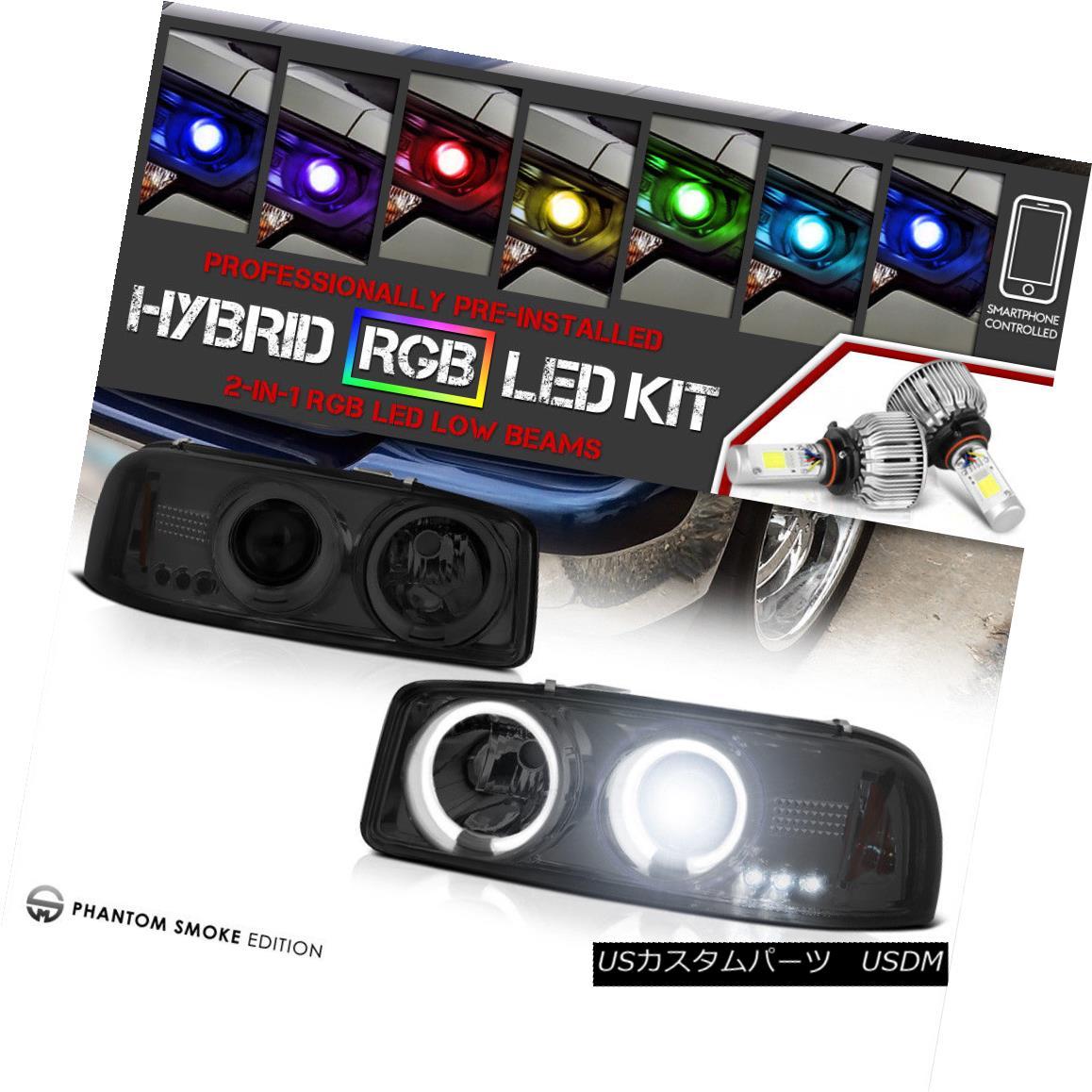 ヘッドライト 99-06 GMC Sierra Pickup Denali New CCFL Halo Headlights [Rainbow LED Low Beam] 99-06 GMCシエラピックアップデナリ新しいCCFLハローヘッドライト[レインボーLEDロービーム]