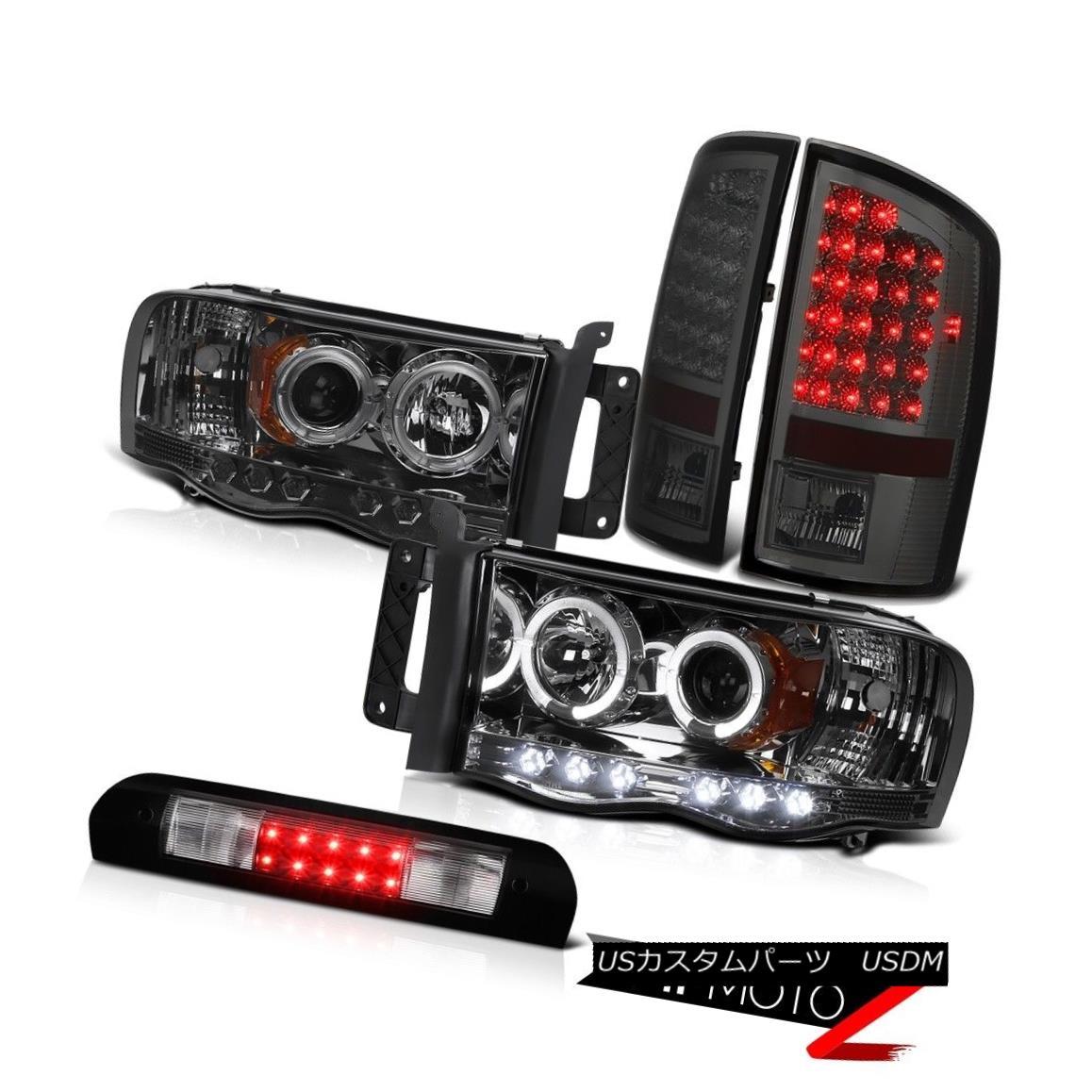 ヘッドライト Pair Halo Headlights Tint LED Brake Lights Black Third 2002-2005 Ram TurboDiesel ペアハローヘッドライト色合いLEDブレーキライトブラックThird 2002-2005 Ram TurboDiesel