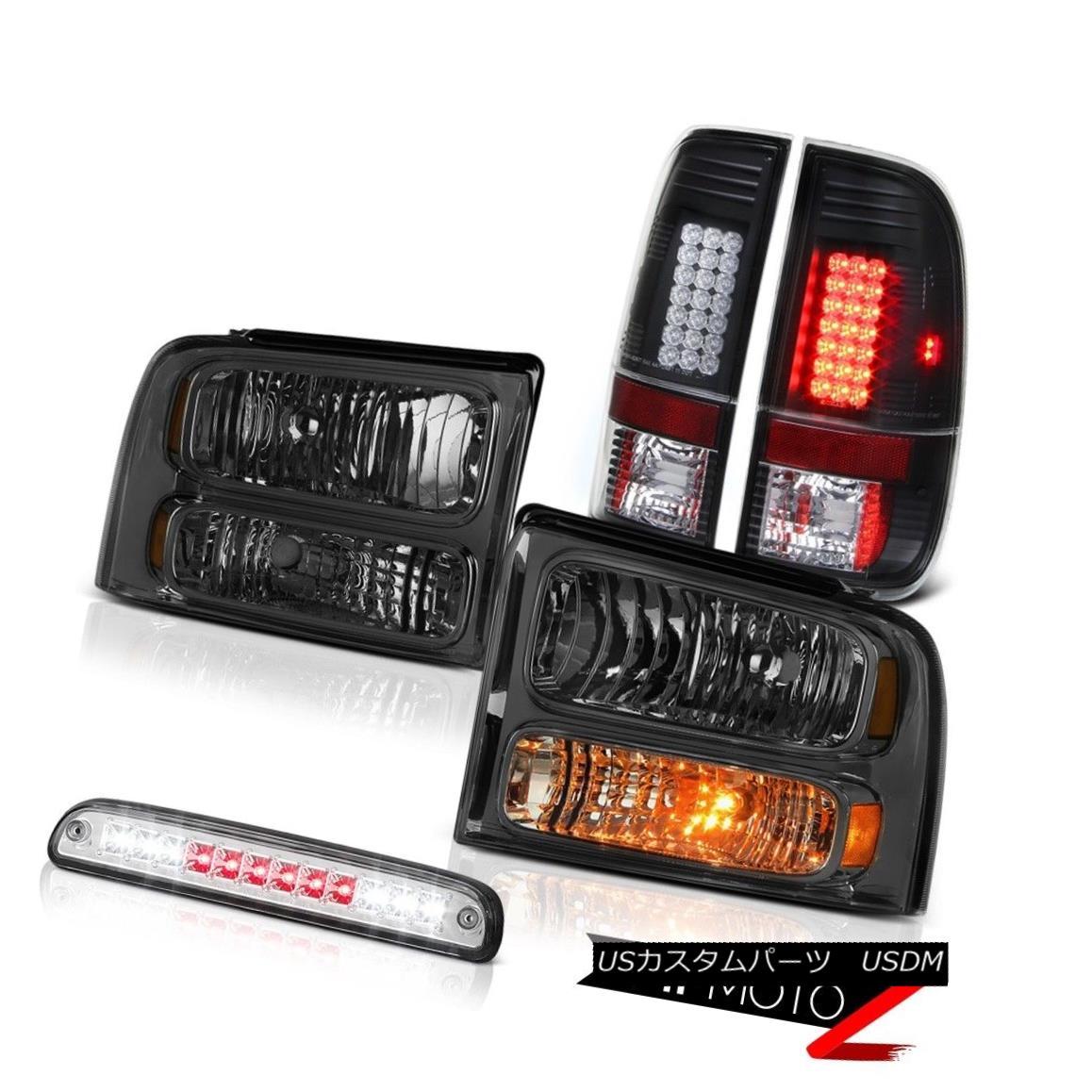 ヘッドライト 2005-2007 F350 Crystal Tinted Headlights Black Brake Tail Lights High Cargo LED 2005-2007 F350クリスタルティントヘッドライトブラックブレーキテールライトハイカーゴーLED