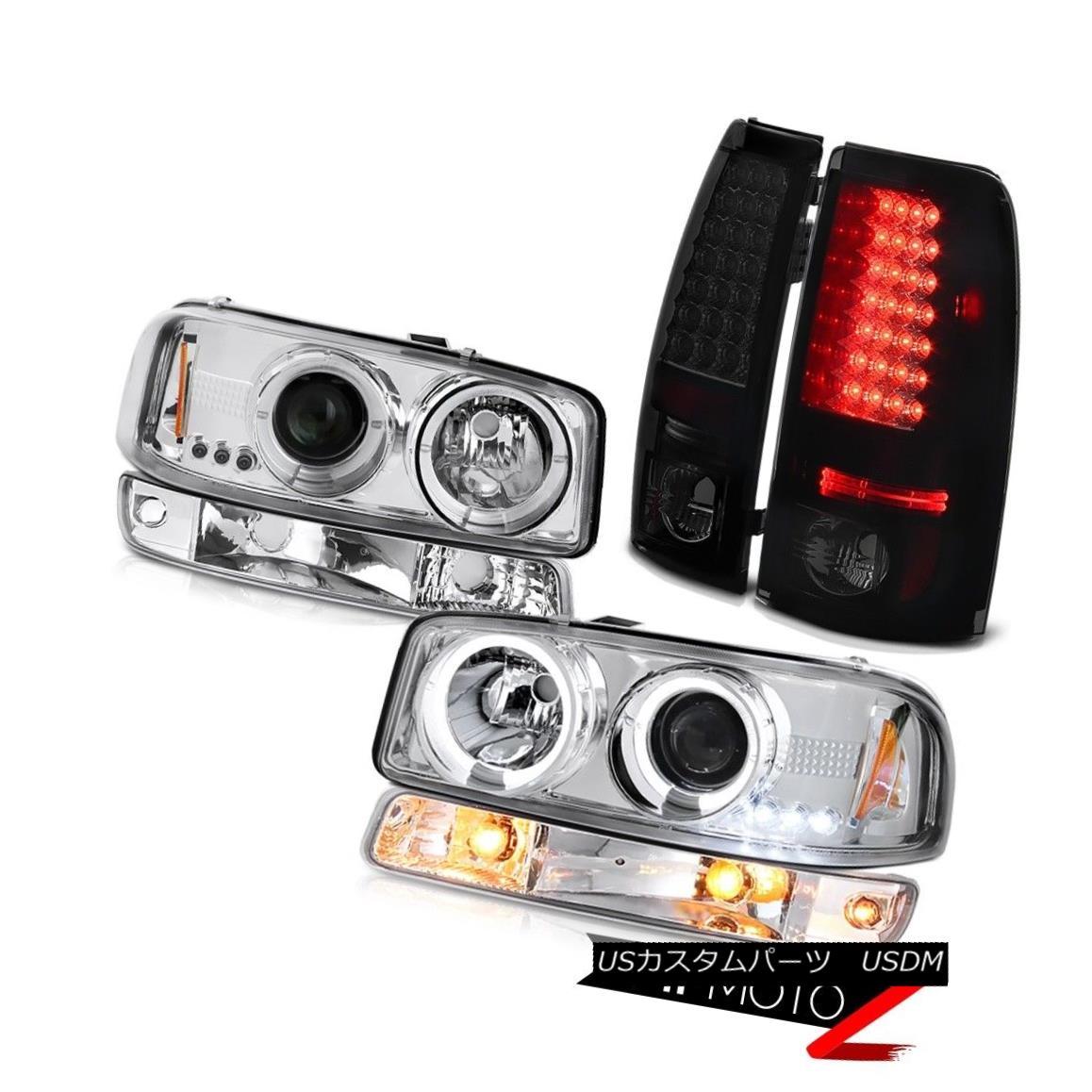 ヘッドライト 1999-2006 Sierra SLT Smoke tinted taillights euro chrome parking lamp headlamps 1999 - 2006年シエラSLT煙が発色したテールライトユーロクロームパーキングランプヘッドライト