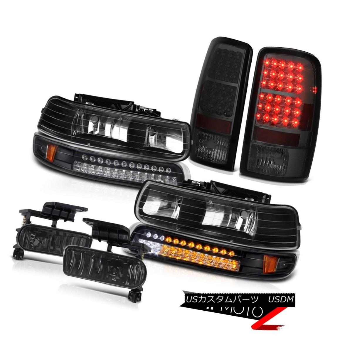 ヘッドライト LH+RH Black Headlamps LED Smoked L.E.D Taillamp Smoke Fog 00 01 02 03 Tahoe LH + RHブラックヘッドランプLEDスモークL.E.Dタイルランプスモークフォグ00 01 02 03タホ