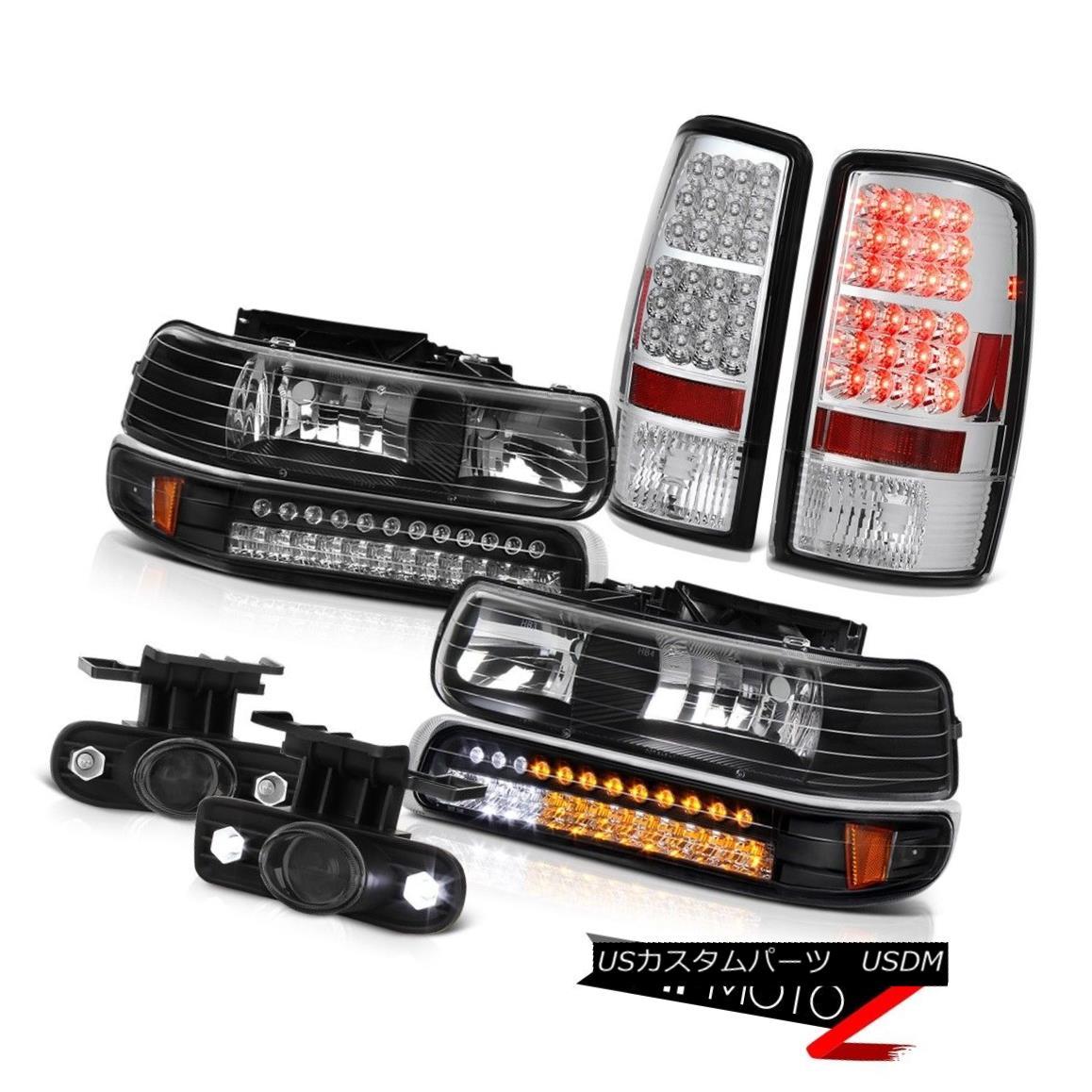 ヘッドライト 2000-06 Suburban 5.3L Black LED Bumper Headlights Bulb Tail Lamps Projector Fog 2000-06郊外5.3LブラックLEDバンパーヘッドライトバルブテールランププロジェクターフォグ
