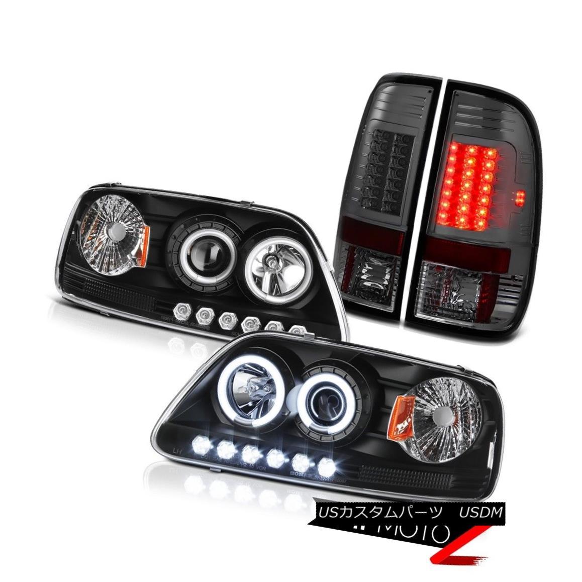 ヘッドライト F150 4.6L 2001 2002 03 Black CCFL Angel Eye Headlamp Smoke Rear Brake Tail Light F150 4.6L 2001 2002 03ブラックCCFLエンジェルアイヘッドランプスモークリアブレーキテールライト