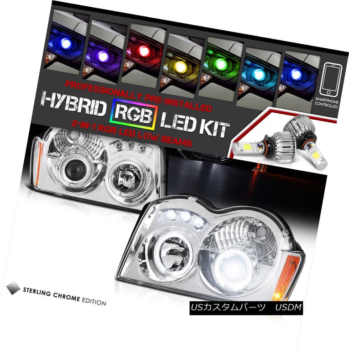 ヘッドライト [Color Changing LED Low Beam] 05-07 Jeep Grand Cherokee WK 4X4 Angel Headlights [色を変えるLEDロービーム] 05-07ジープグランドチェロキーWK 4X4エンジェルヘッドライト
