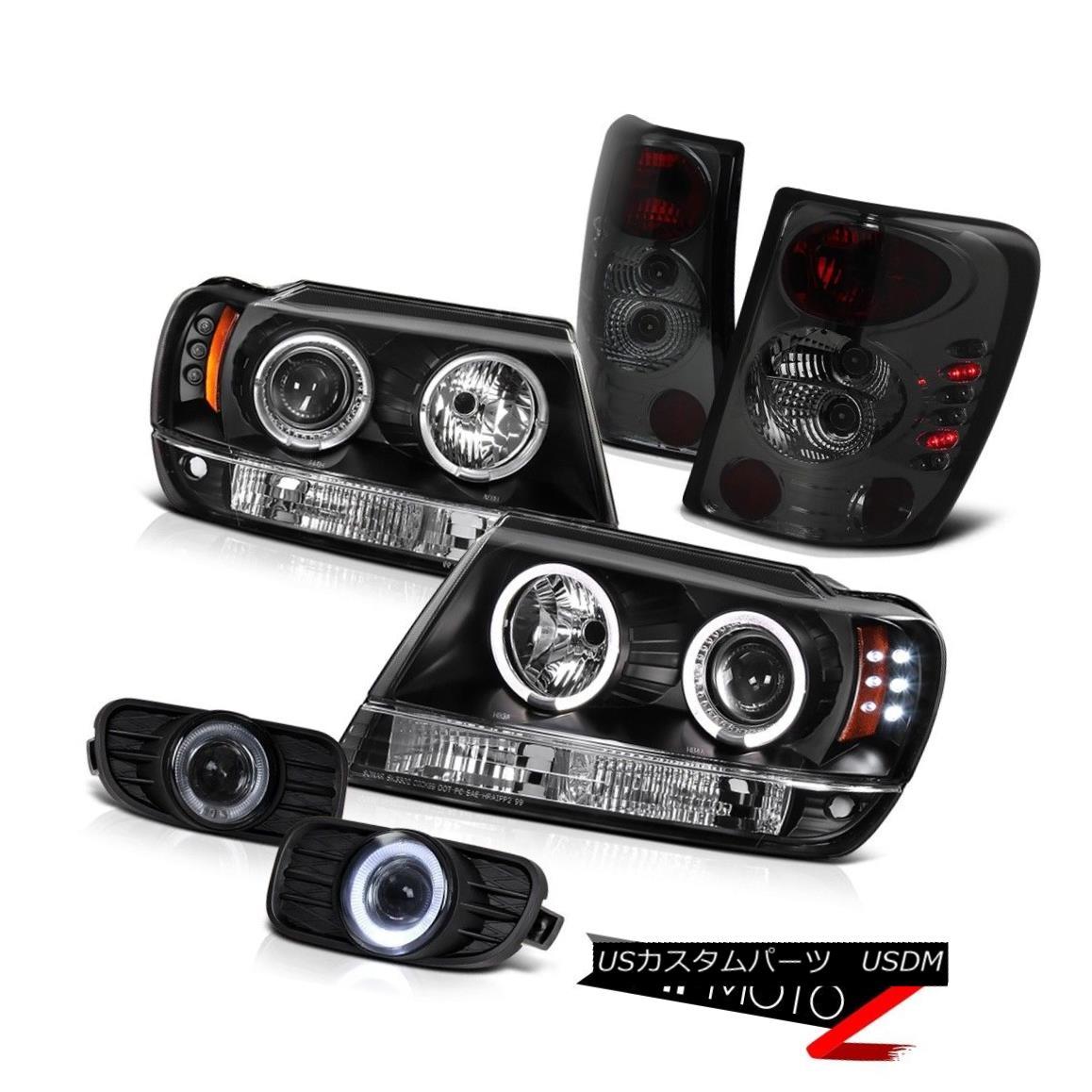ヘッドライト BLACK HALO PROJECTOR HEADLIGHT+TAIL LIGHT+SMOKE FOG LAMP JEEP WJ WG 99-03 LAREDO ブラックハロープロジェクターヘッドライト+テールライト+ソークライトFOGランプジープWJ WG 99-03 LAREDO