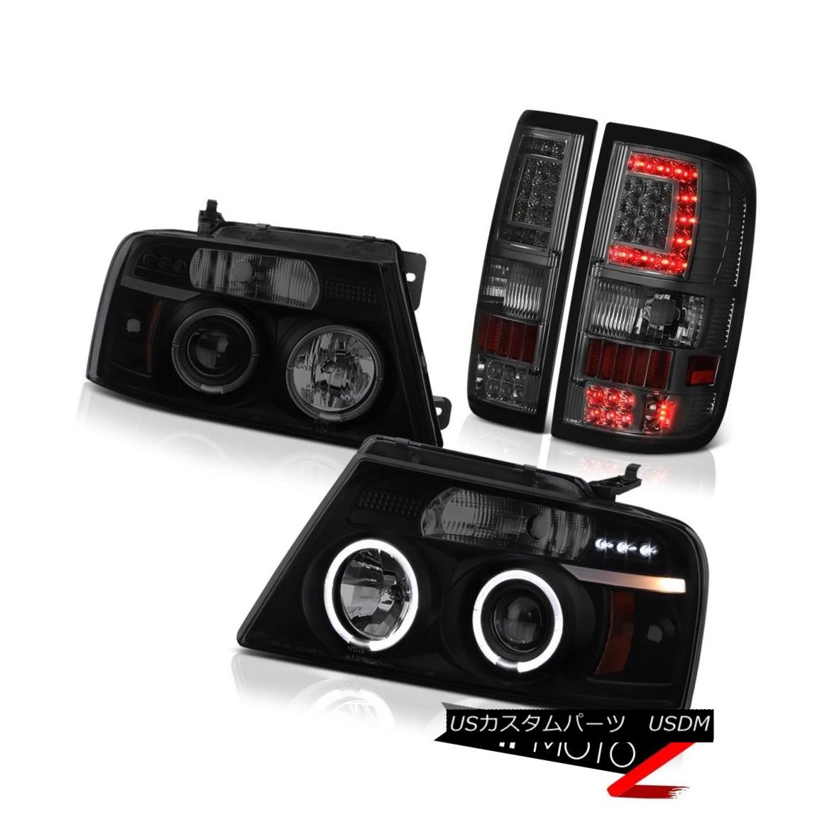 ヘッドライト 04-08 Ford F150 Graphite Smoke Led Tail Lights Sinister Black Projector Head L+R 04-08 Ford F150グラファイト煙LedテールライトSinister黒プロジェクターヘッドL + R
