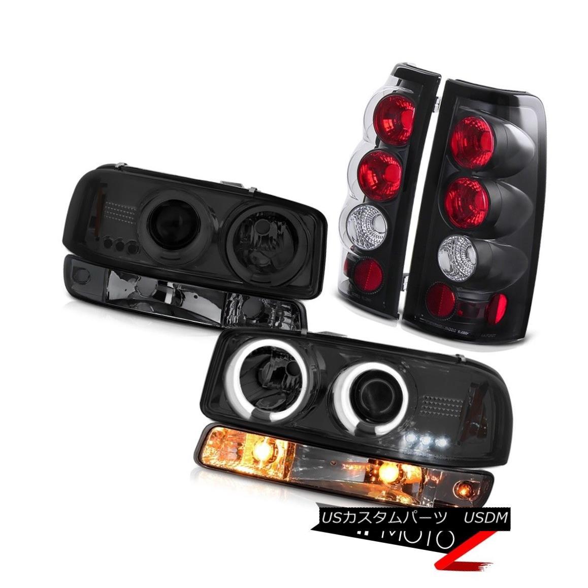 ヘッドライト 99-02 Sierra 1500 Raven black parking brake lights bumper light ccfl headlamps 99-02 Sierra 1500 Ravenブラックパーキングブレーキライトバンパーライトccflヘッドランプ