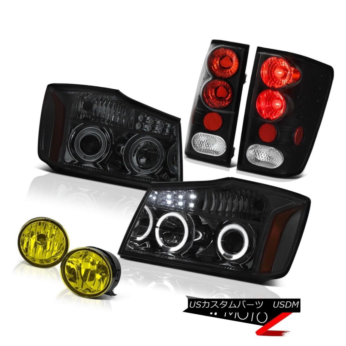 ヘッドライト For 04-15 Titan SL Halo LED Headlight Black Brake Tail Light Yellow Bumper Fog 04-15タイタンSLのためのHalo LEDヘッドライトブラックブレーキテールライトイエローバンパーフォグ