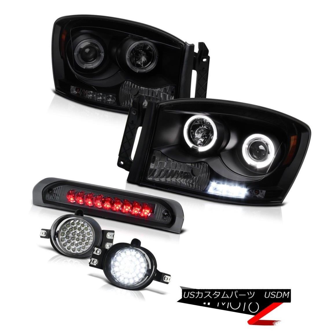 ヘッドライト 2006 Dodge Ram 4x4 Projector Front Halo LED Headlights Third Brake Tail Lights 2006 Dodge Ram 4x4プロジェクターフロントハローLEDヘッドライト第3ブレーキテールライト