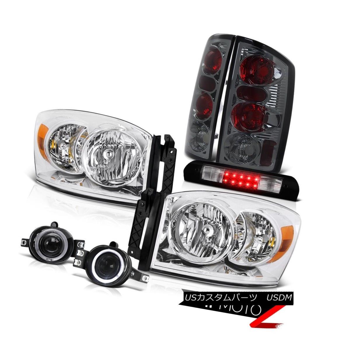 ヘッドライト Crystal Headlights Smoke Rear Brake Lamps Driving Fog Roof LED 06 Dodge Ram 1500 クリスタルヘッドライトスモークリアブレーキランプフォグルーフLED 06ドッジラム1500