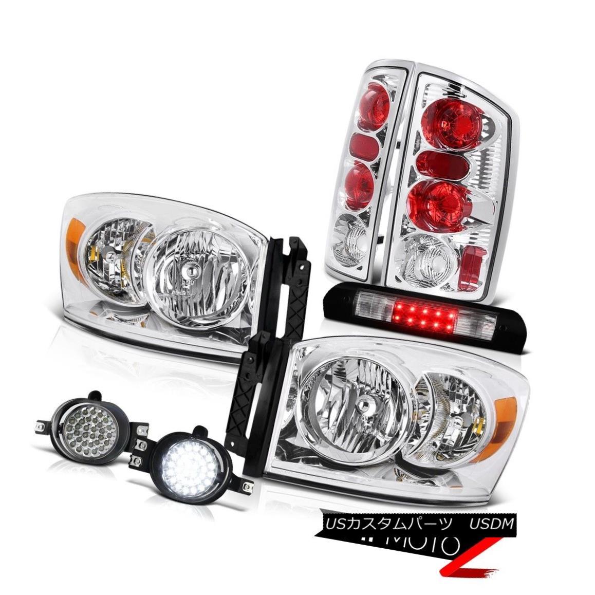 ヘッドライト Chrome Headlights Euro Tail Lights SMD LED Fog Black Third Brake 2006 Dodge Ram クロームヘッドライトユーロテールライトSMD LEDフォグブラック第3ブレーキ2006 Dodge Ram