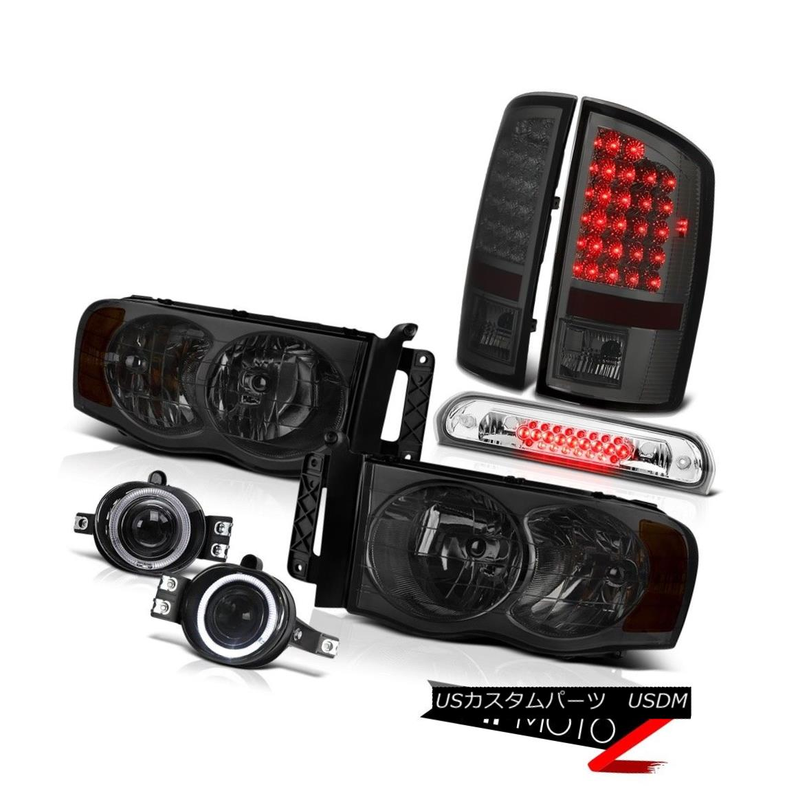 ヘッドライト 2002-2005 Ram 2500 Pair Smoke Headlamps Brake Tail Lights Halo Fog 3rd Cargo LED 2002-2005 Ram 2500 Pair Smoke HeadlampsブレーキテールライトHalo Fog 3rd Cargo LED