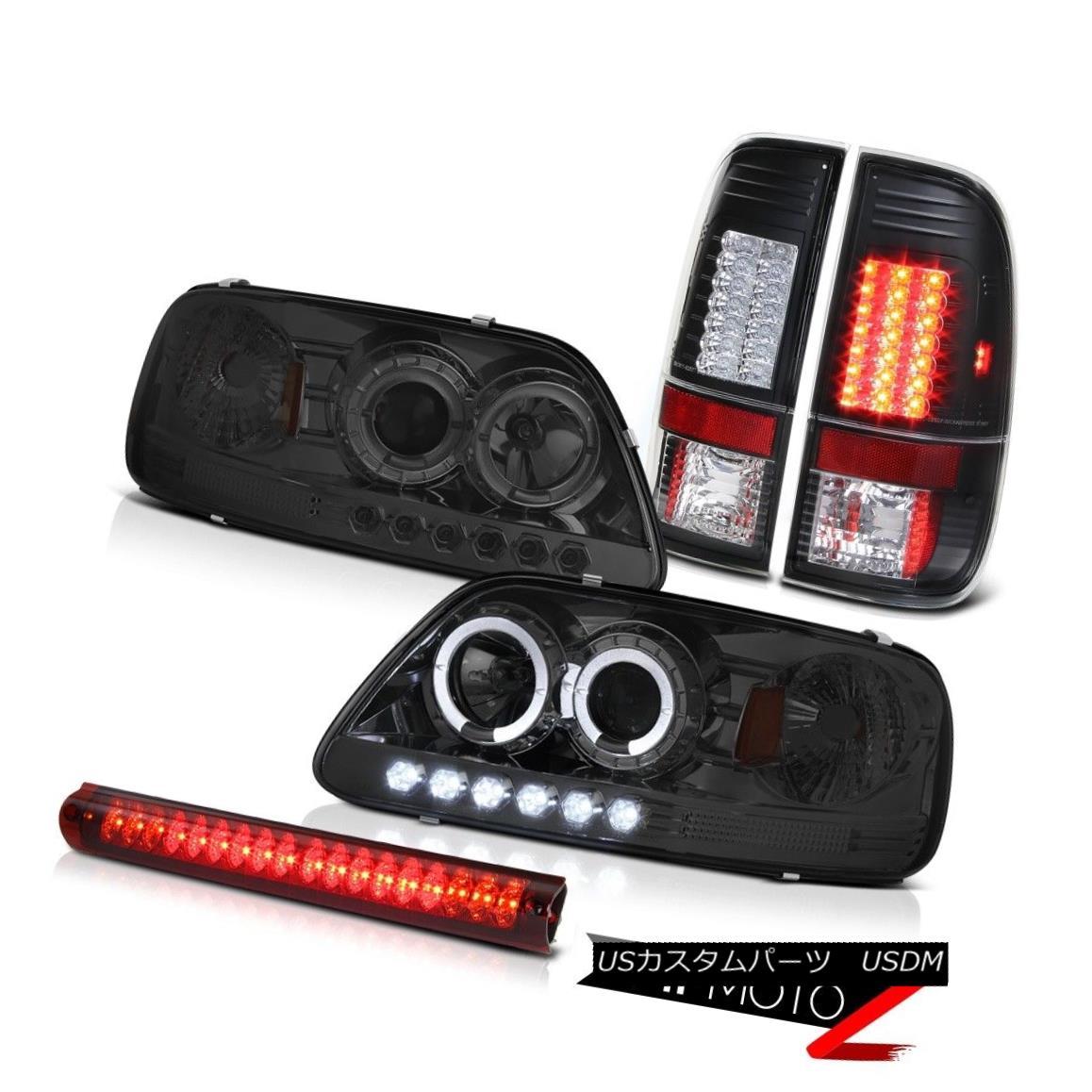 ヘッドライト Tinted Halo LED Headlights Signal Brake Tail Lights Stop Red 1997 1998 F150 5.4L 有色ハローLEDヘッドライト信号ブレーキテールライトストップレッド1997 1998 F150 5.4L