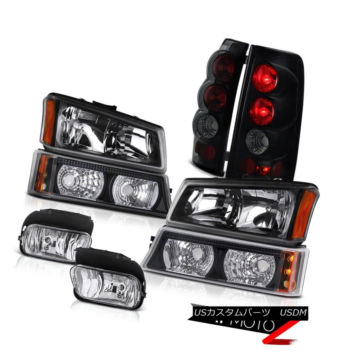 ヘッドライト 03 04 05 06 Silverado 5.3L V8 Black Headlight Parking Tail Front Driving Foglamp 03 04 05 06 Silverado 5.3L V8ブラックヘッドライトパーキングテールフロントドライビングフォグランプ
