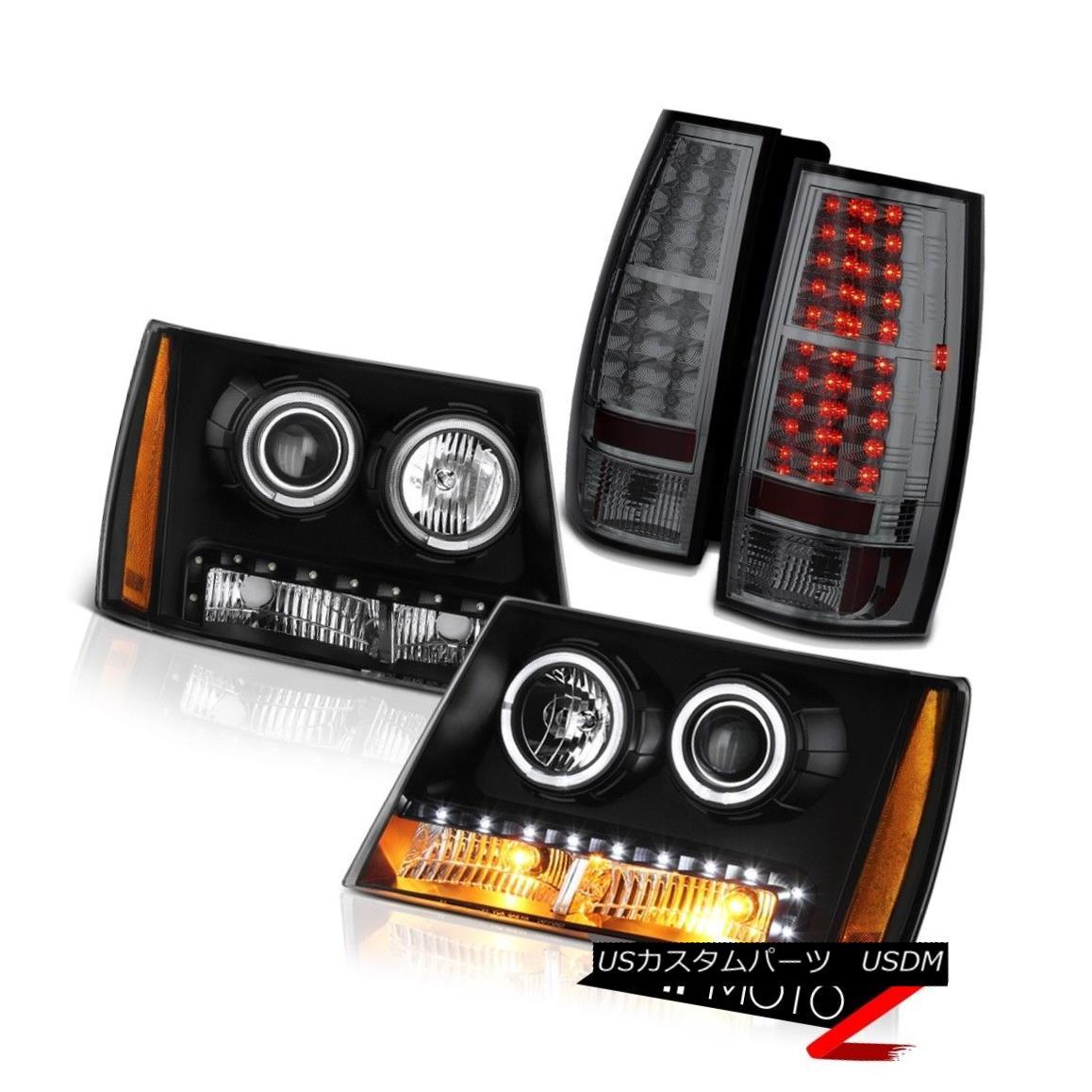 ヘッドライト 07-14 Chevy Tahoe LT2 Smokey Taillights Headlights LED Angel Eyes