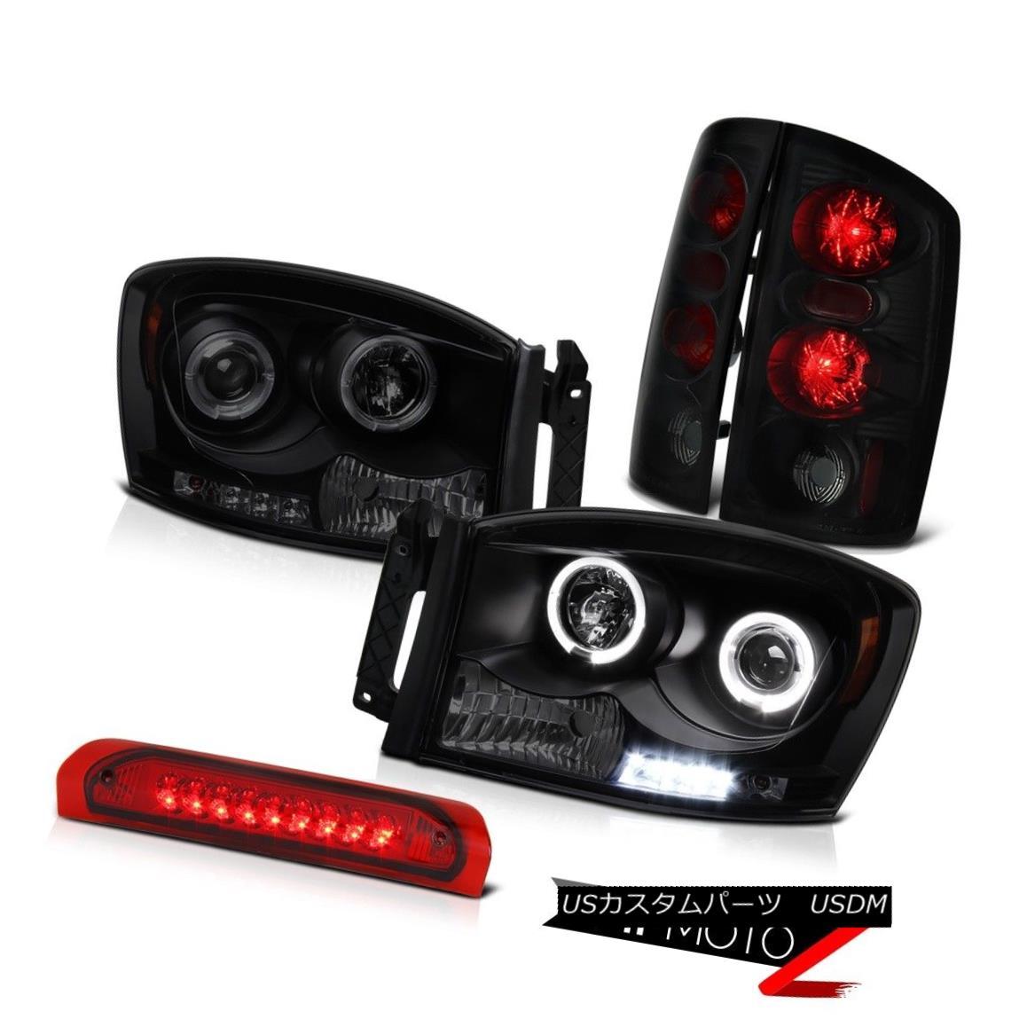 ヘッドライト 06 Dodge Ram 4.7L Halo LED Headlight Top Mount Brake Lamp Black Smoke Brake Lamp 06ダッジラム4.7LハローLEDヘッドライトトップマウントブレーキランプブラックスモークブレーキランプ