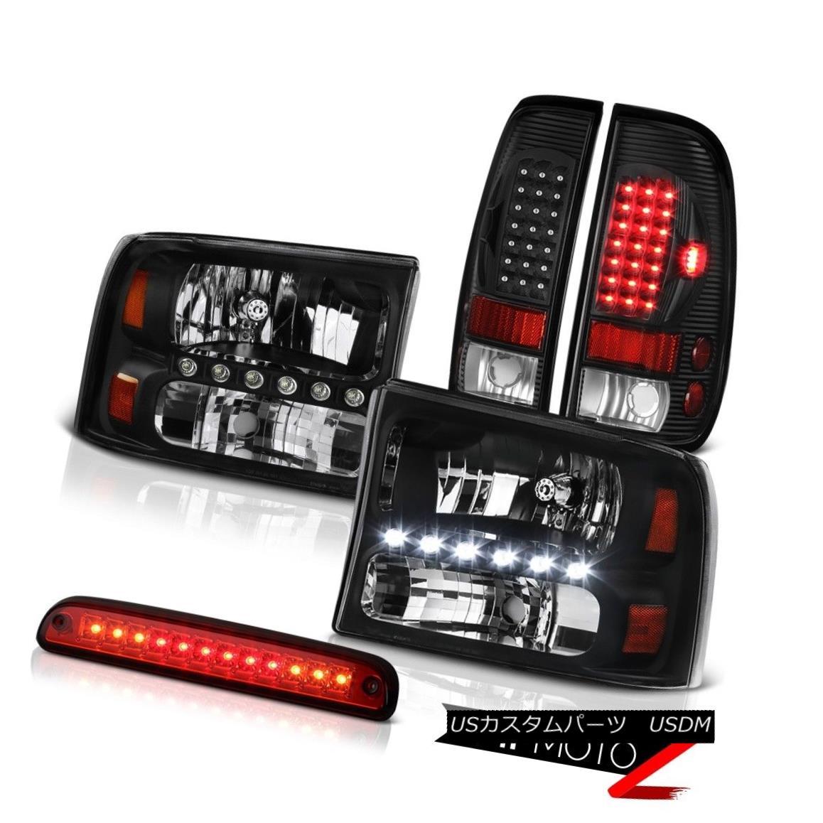 ヘッドライト Black Headlamps Roof Third Brake LED Red Tail Light 99 00 01 02 03 04 F350 XL ブラックヘッドランプ屋根第3ブレーキLEDレッドテールライト99 00 01 02 03 04 F350 XL