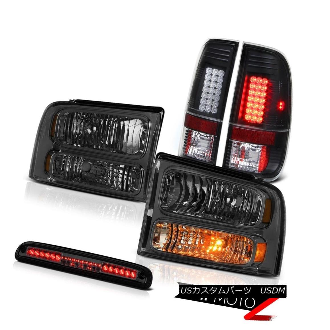 ヘッドライト 05 06 07 F350 Highline Pair Smoke Headlamps L.E.D Rear Tail Lights 3rd Brake LED 05 06 07 F350ハイエンドペアスモークヘッドランプL.E.Dリアテールライト第3ブレーキLED
