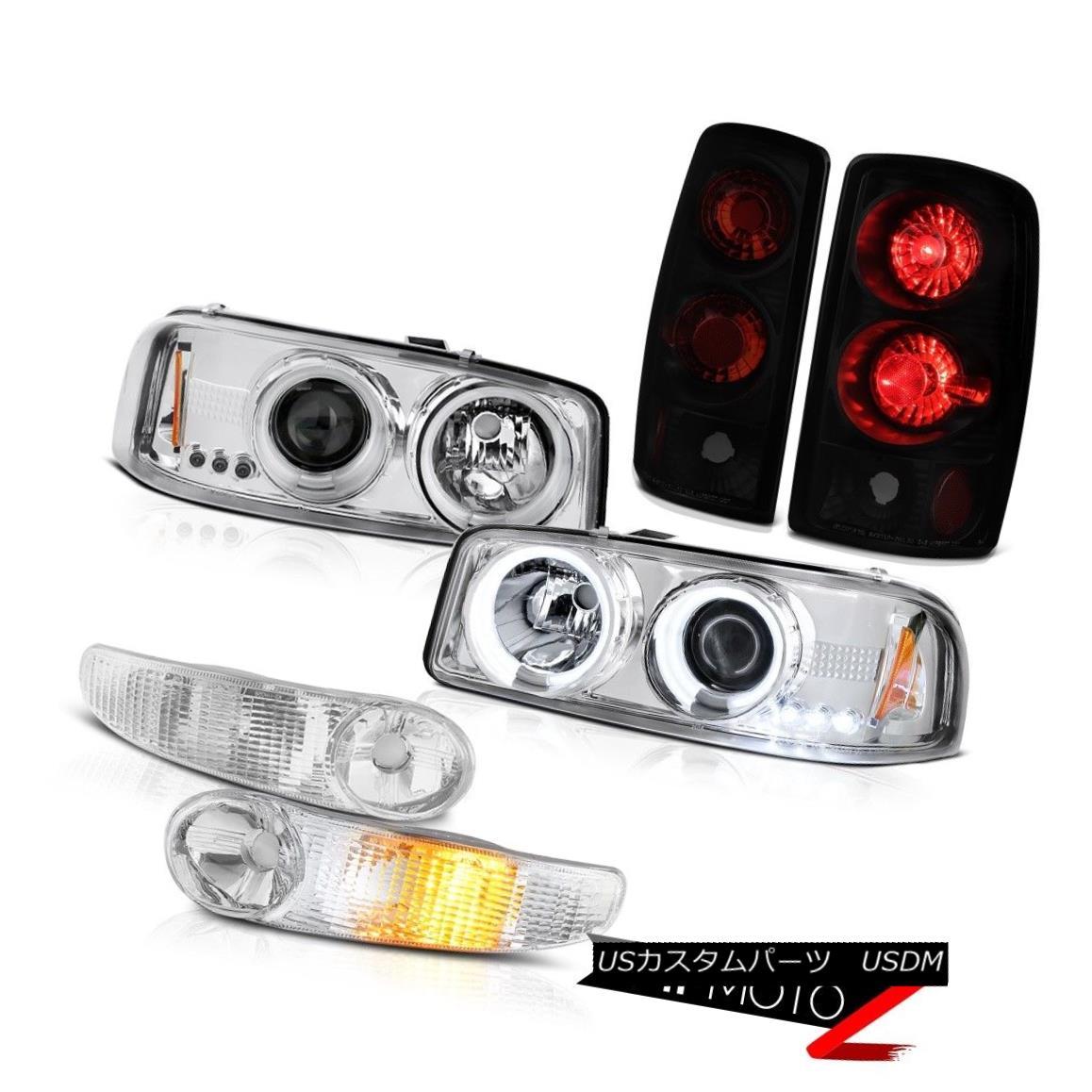 ヘッドライト 00-06 Yukon Denali DRL Halo CCFL Headlight Chrome Parking Black Smoke Tail Light 00-06ユーコンデナリDRLハローCCFLヘッドライトクロームパーキングブラックスモークテールライト