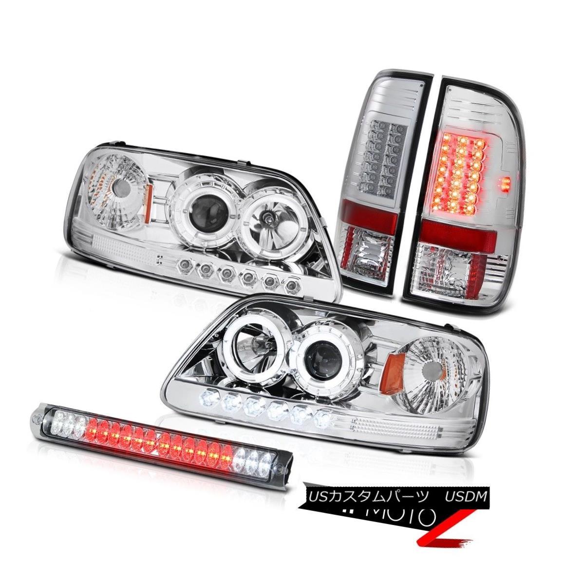 ヘッドライト Crystal Halo LED Headlight BRIGHT Tail Light Roof Brake Chrome F150 Lariat 97-03 クリスタルハローLEDヘッドライトBRIGHTテールライトルーフブレーキクロームF150ラリアート97-03