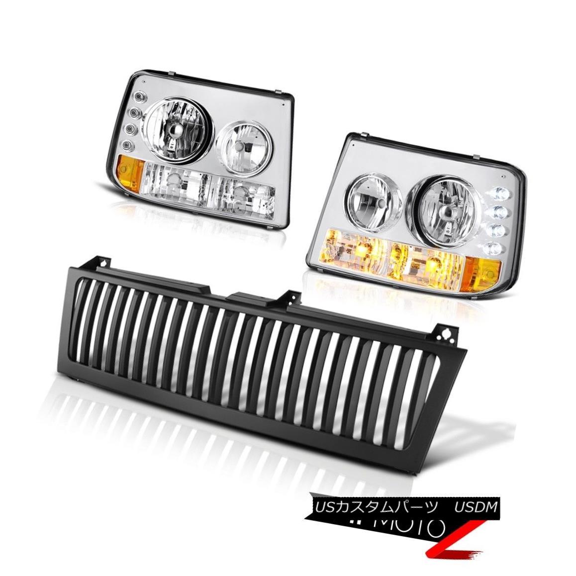 ヘッドライト Suburban 8.1L Euro Chrome Headlight Headlamp Black Grille 2000 2001 02 03 04 05 郊外の8.1Lユーロクロームヘッドライトヘッドランプブラックグリル2000 2001 02 03 04 05